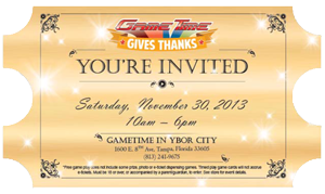Youre invited to GameTime Gives Thanks