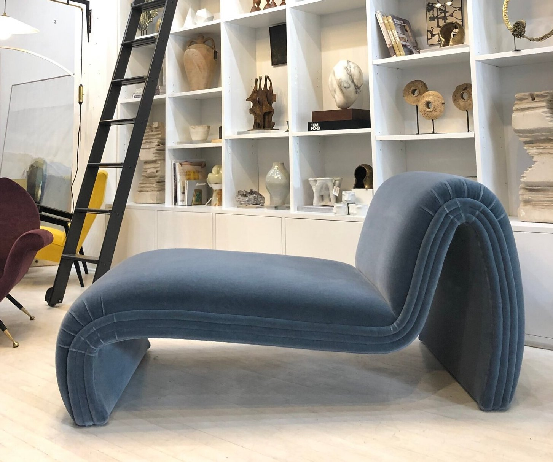Post Modern Sculptural Chaise Lounge In Blue Mohair South Loop Loft