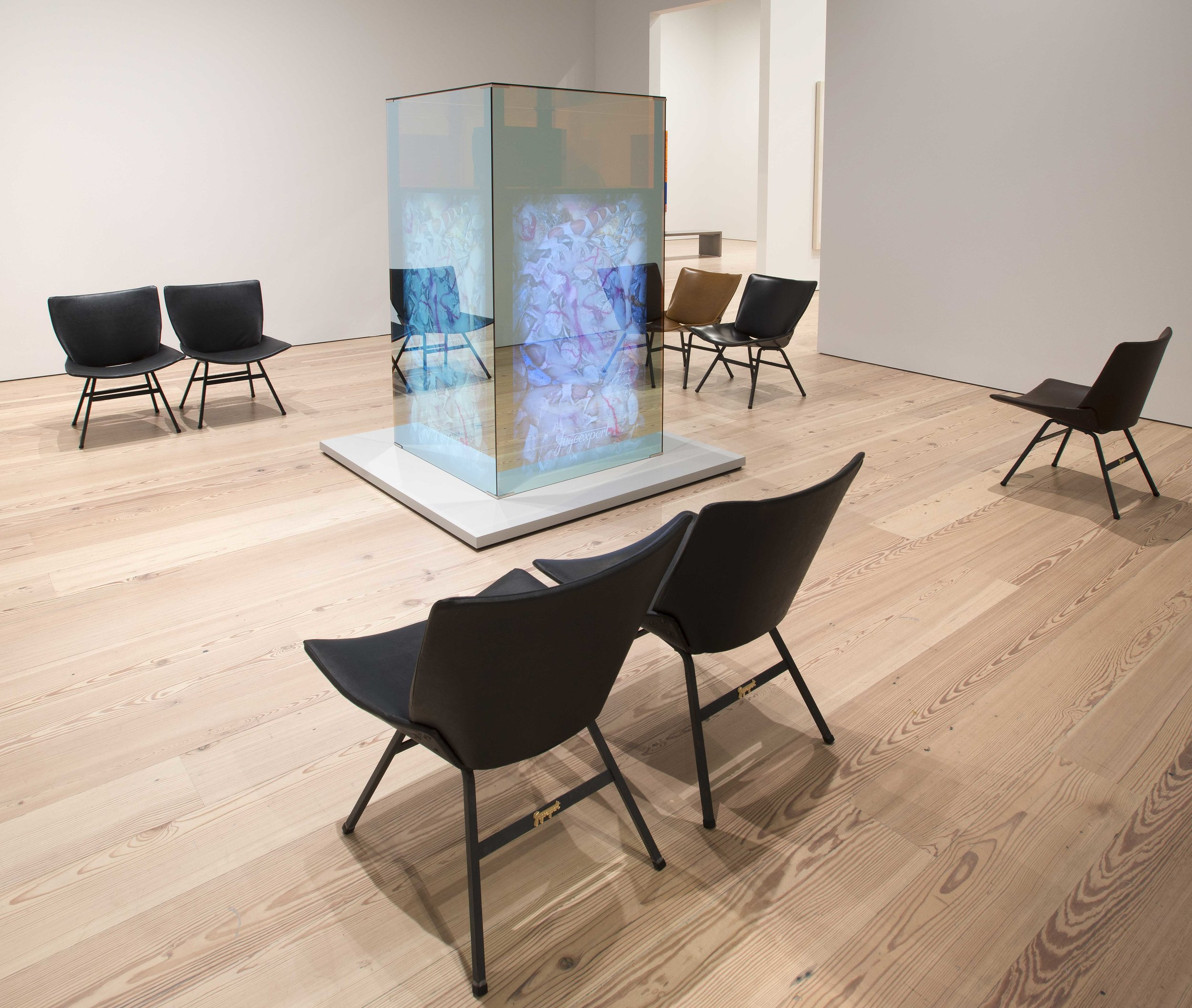 Irena Haiduk with jesus.d and Daniel Sauter. SERVERS FOR .YU and Frauenbank, 2017 (Installation view). Photograph Bill Orcutt