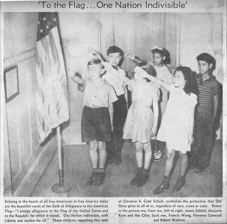 _Before 1942, American children pledged allegiance to the flag with the Bellamy salute..jpg