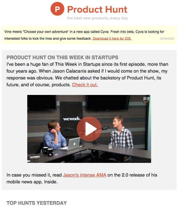 Product Hunt's Newsletter