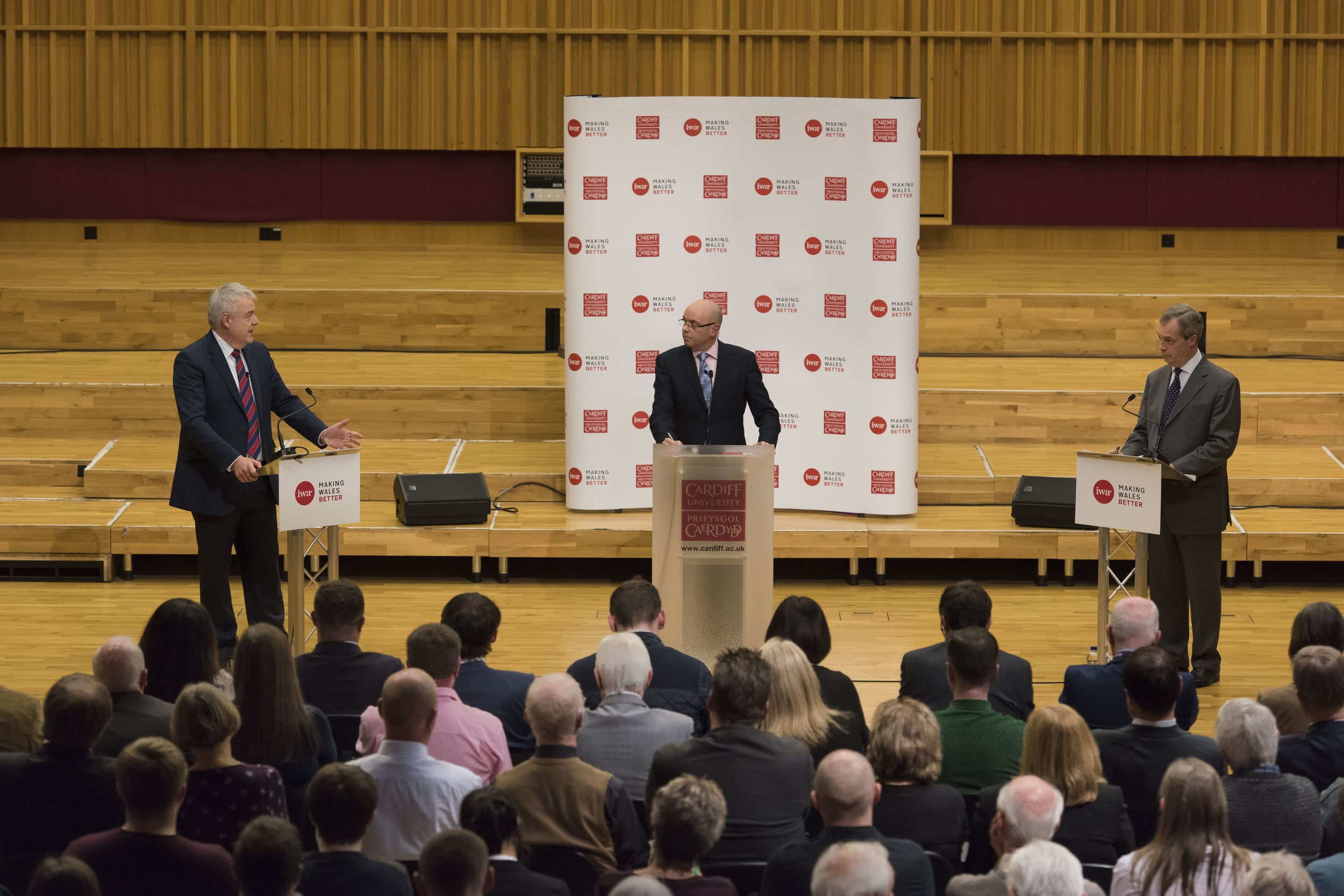 CARDIFF, WALES - JANUARY 11: Nigel Farage, leader of the UK Independence Party and First Minister of Wales Carwyn Jones attend a IWA (Institute of Welsh Affairs) debate called Europe: In or Out? at the Wales Millennium Centre in Cardiff, South Wales. A referendum on whether the UK should remain within the EU or leave is set to be held before the end of 2017.(Photo by Matthew Horwood/Getty Images)