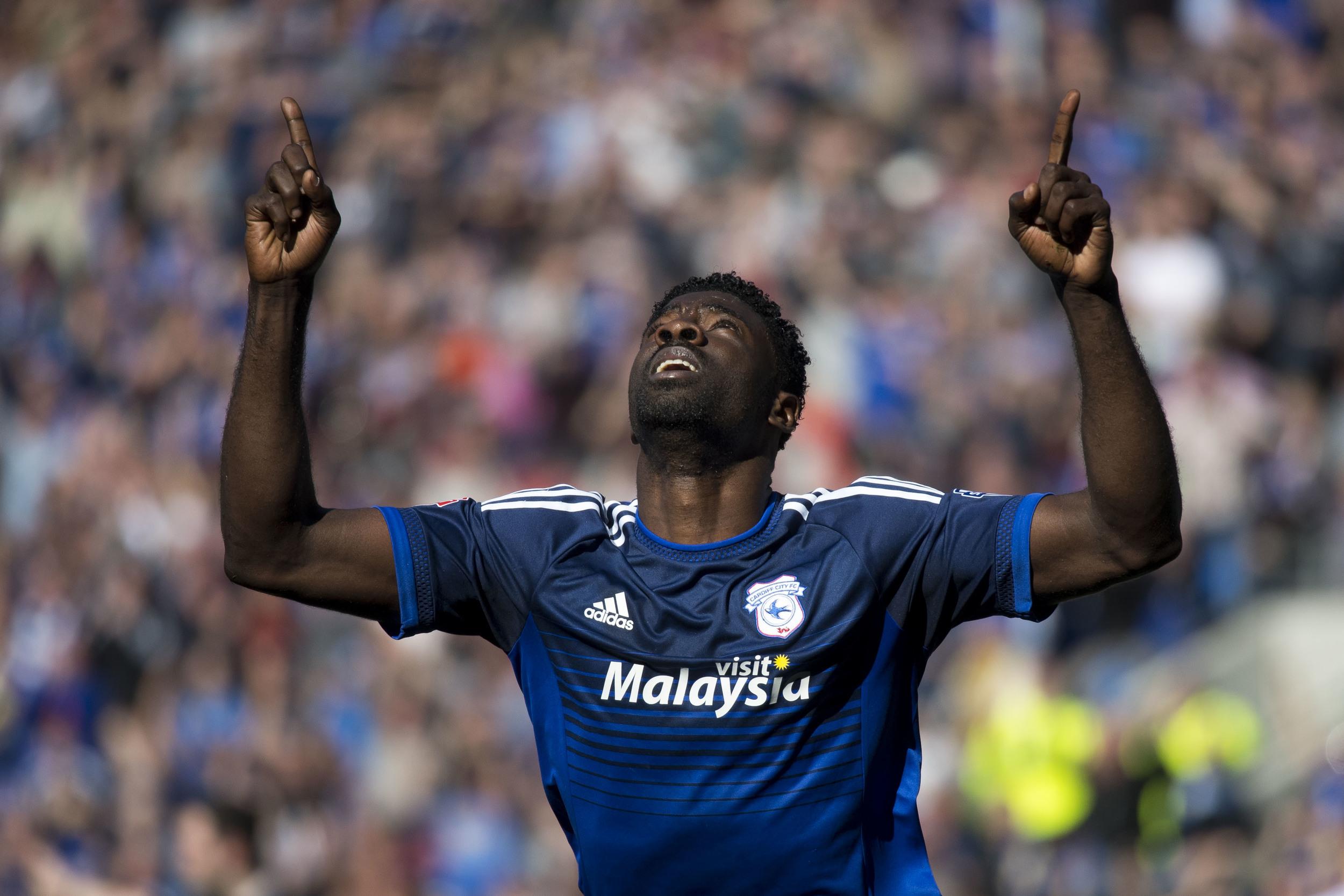 Bruno Manga celebrates after scoring a goal - press photography