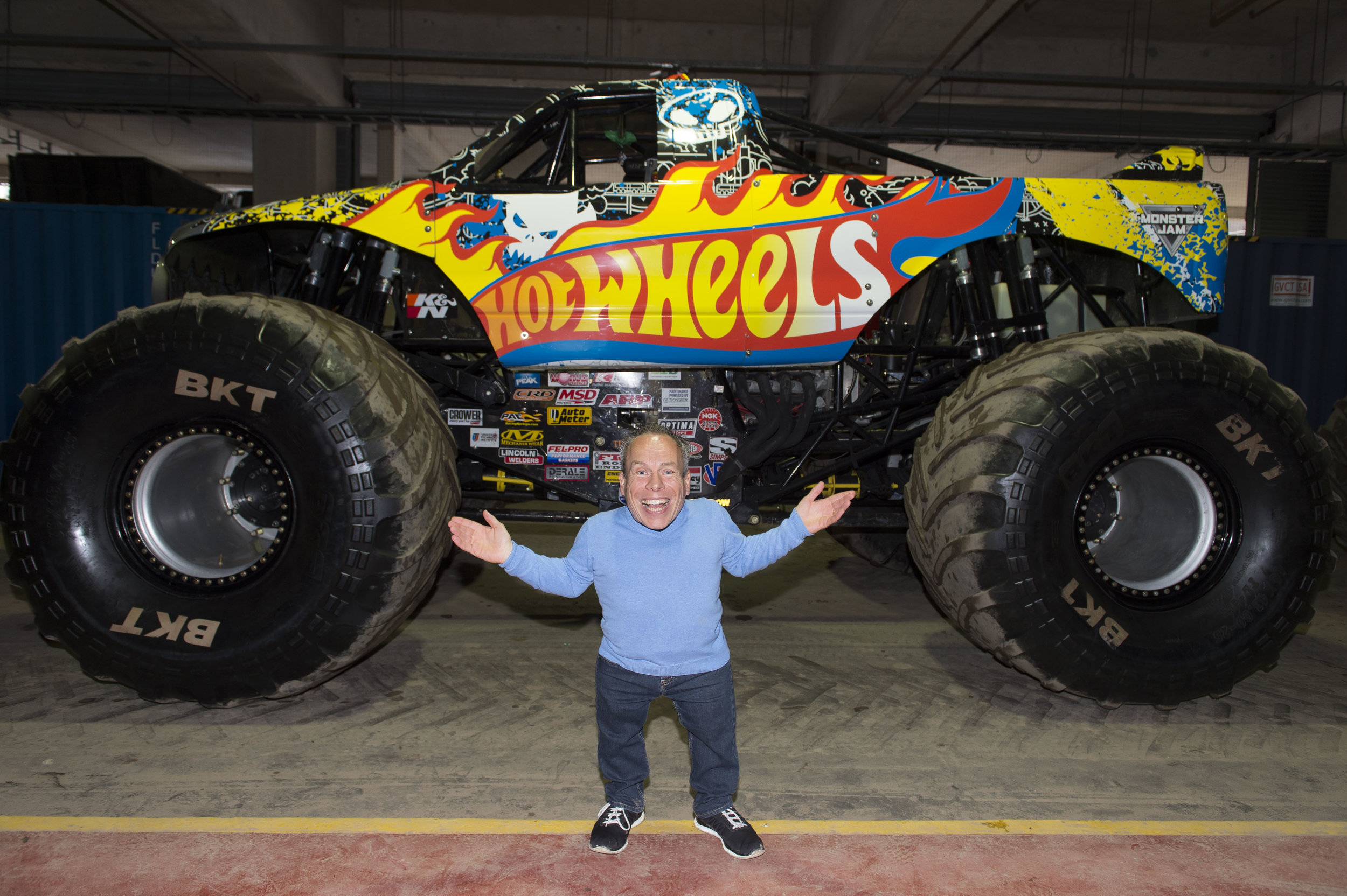Warwick Davis attends the Monster Jam 2016 at the Principality Stadium in Cardiff, south Wales.
