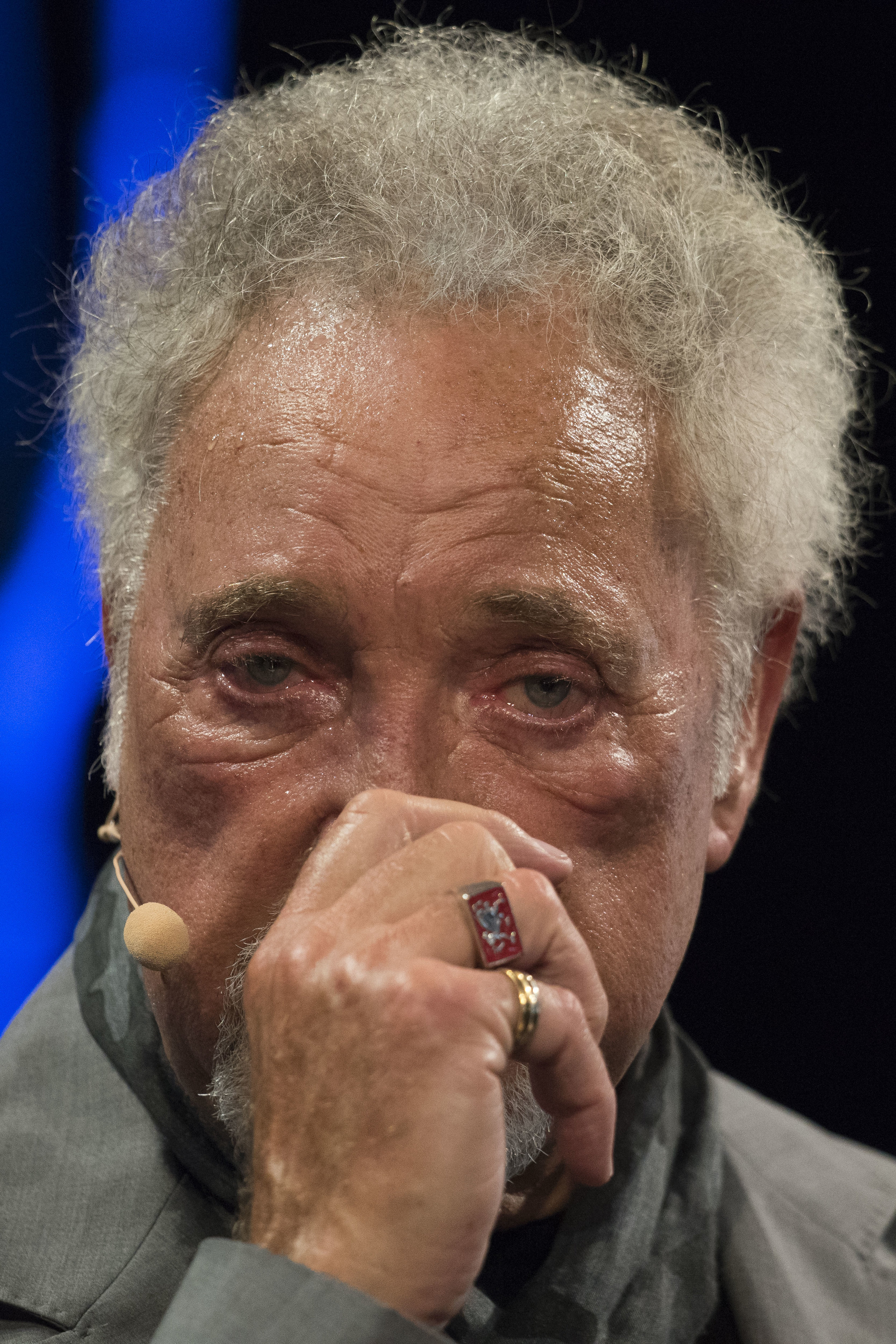 HAY-ON-WYE, WALES - JUNE 05:Sir Tom Jones speaks during the 2016 Hay Festival on June 5, 2016 in Hay-on-Wye, Wales. This is the Welsh singer�s first public appearance since the death of his wife Lady Melinda Rose Woodward who died on April 10, 2016.(Photo by Matthew Horwood)