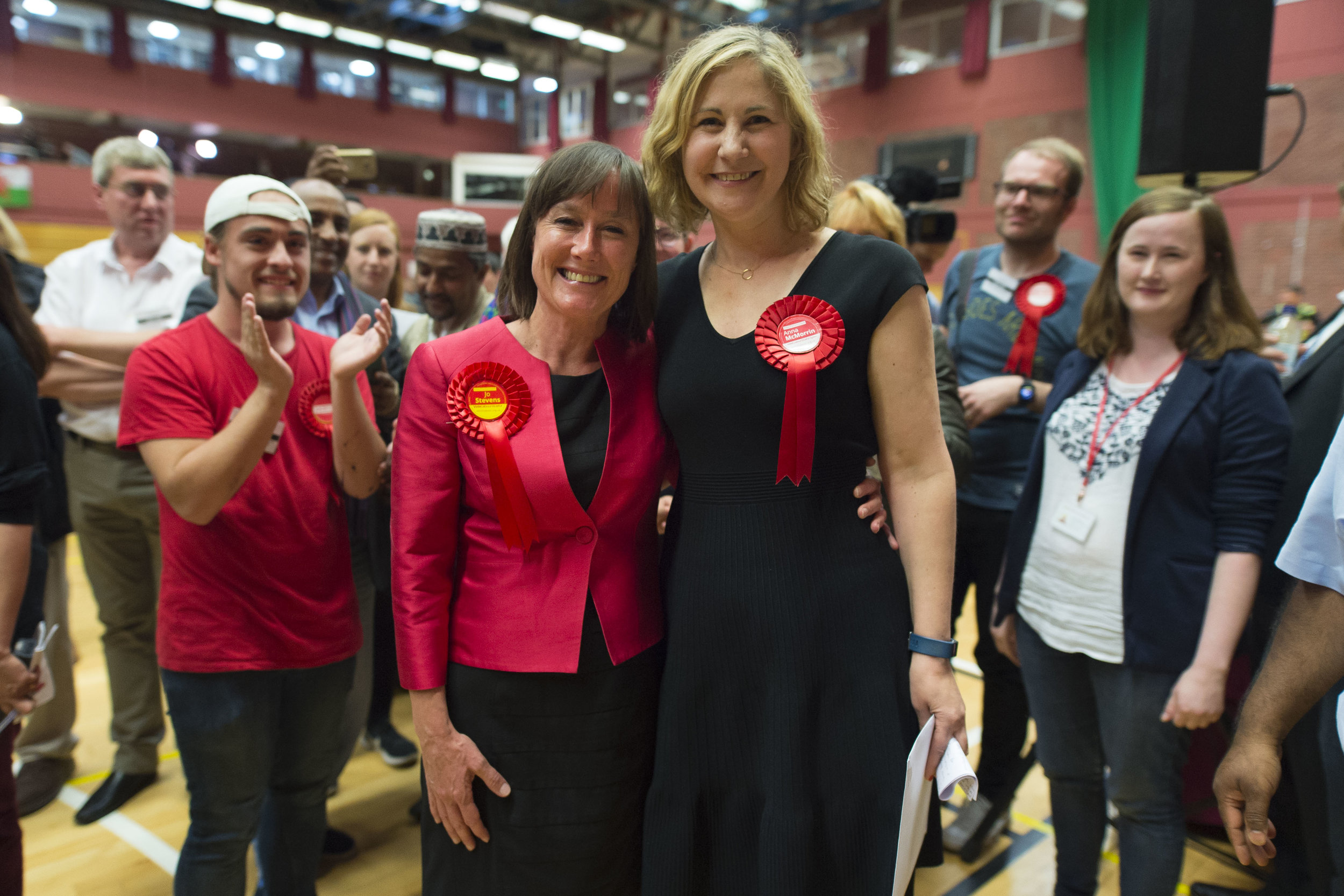 CARDIFF, UNITED KINGDOM - JUNE 09: Jo Stevens, Labour MP for Cardiff Central and Anna Anna McMorrin, Labour MP for Cardiff North pose for a picture after winning their respective seats at the Sport Wales National Centre on June 9, 2017 in Cardiff, United Kingdom. After a snap election was called, the United Kingdom went to the polls yesterday following a closely fought election. The results from across the country are being counted and an overall result is expected in the early hours. (Photo by Matthew Horwood/Getty Images)