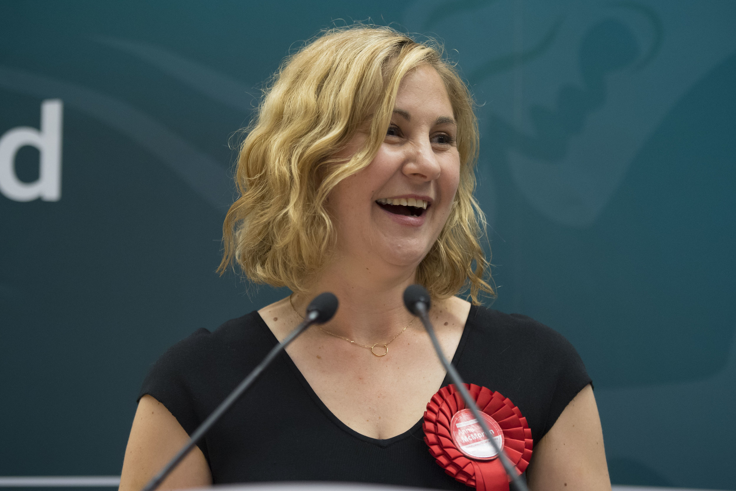 CARDIFF, UNITED KINGDOM - JUNE 09: Anna McMorrin speaks after winning Cardiff North for Labour at the Sport Wales National Centre on June 9, 2017 in Cardiff, United Kingdom. After a snap election was called, the United Kingdom went to the polls yesterday following a closely fought election. The results from across the country are being counted and an overall result is expected in the early hours. (Photo by Matthew Horwood/Getty Images)