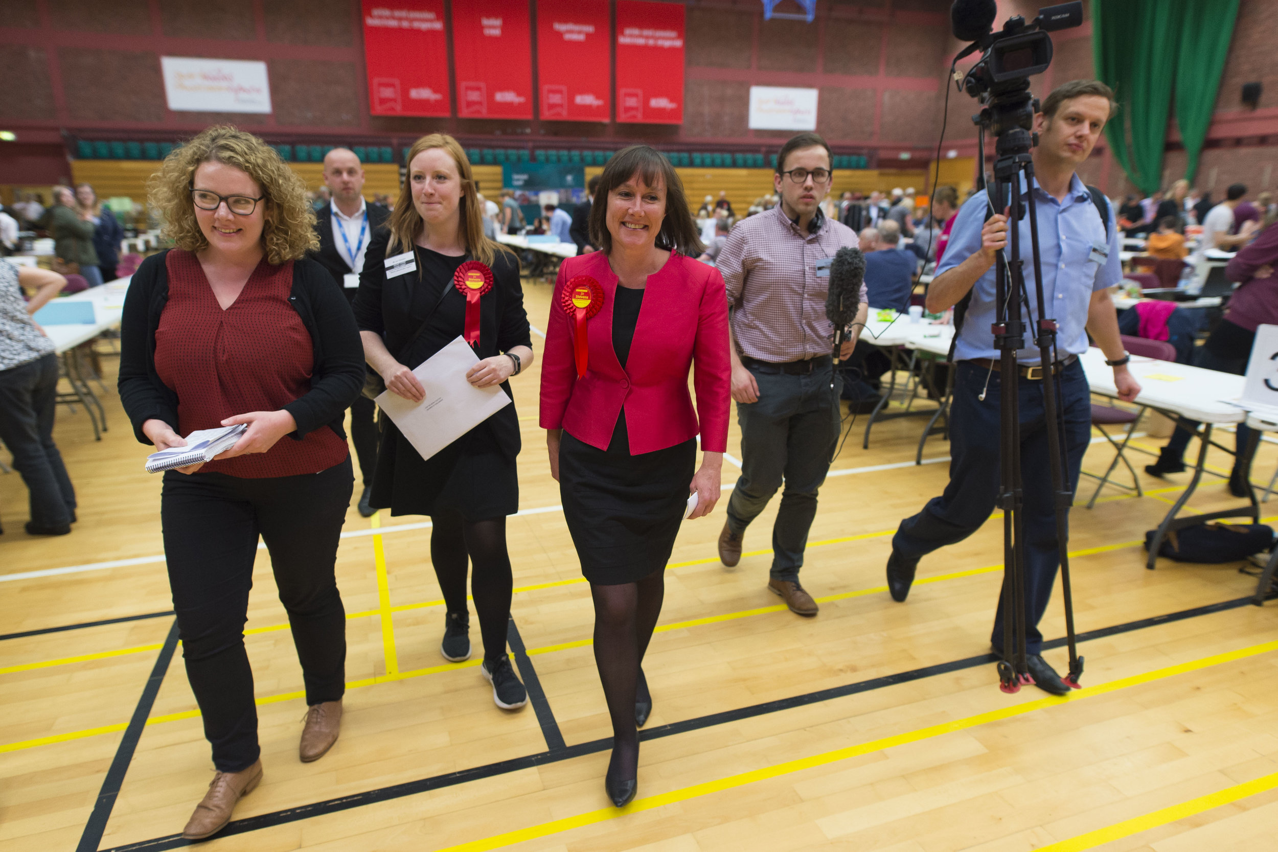 CARDIFF, UNITED KINGDOM - JUNE 09: Jo Stevens (centre) wins Cardiff Central for Labour increasing her majority to more than 17,000 at the Sport Wales National Centre on June 9, 2017 in Cardiff, United Kingdom. After a snap election was called, the United Kingdom went to the polls yesterday following a closely fought election. The results from across the country are being counted and an overall result is expected in the early hours. (Photo by Matthew Horwood/Getty Images)