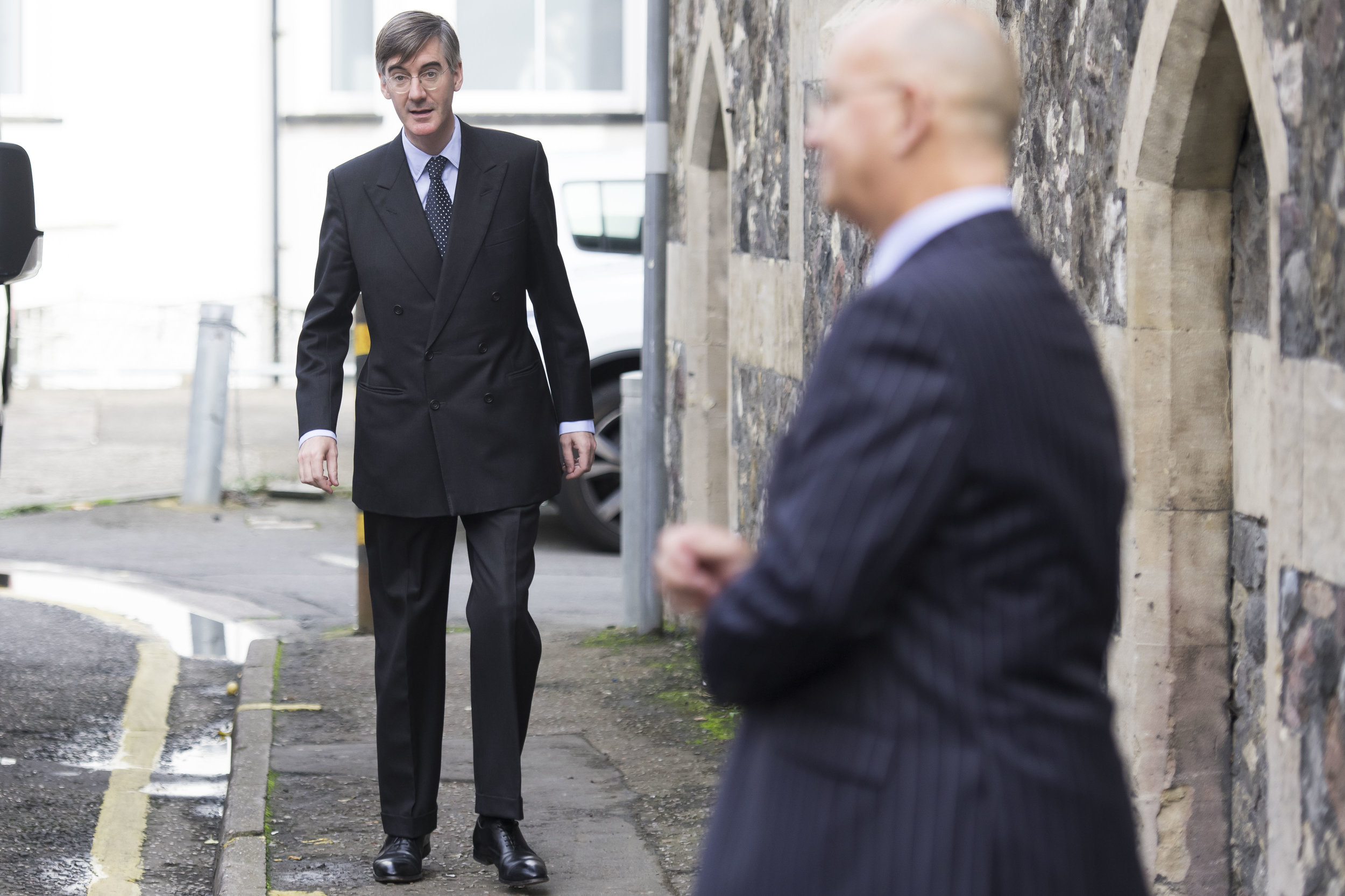"""CARDIFF, WALES - SEPTEMBER 29: Jacob Rees-Mogg, MP for North East Somerset, seen following a talk called Faith in the Future at the Cornerstone Church on September 29, 2017 in Cardiff, Wales. The talk, titled """"Faith in the Future"""", explores issues surrounding the importance of faith in the public and private life of our society. Jacob Rees-Mogg has recently caused controversy over his opposition to abortion after rape or incest. (Photo by Matthew Horwood/Getty Images)"""