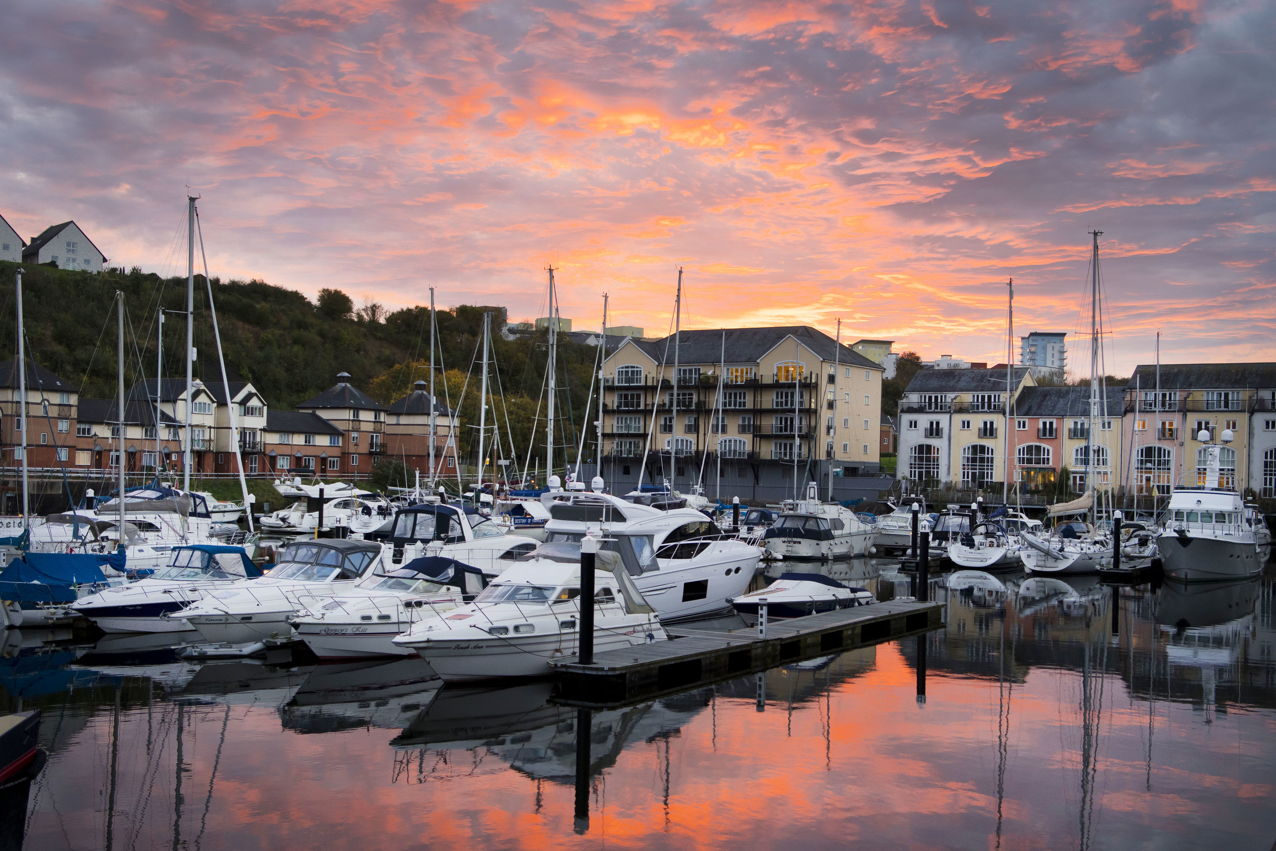 Penarth Marina at sunset in Penarth, Wales, UK.