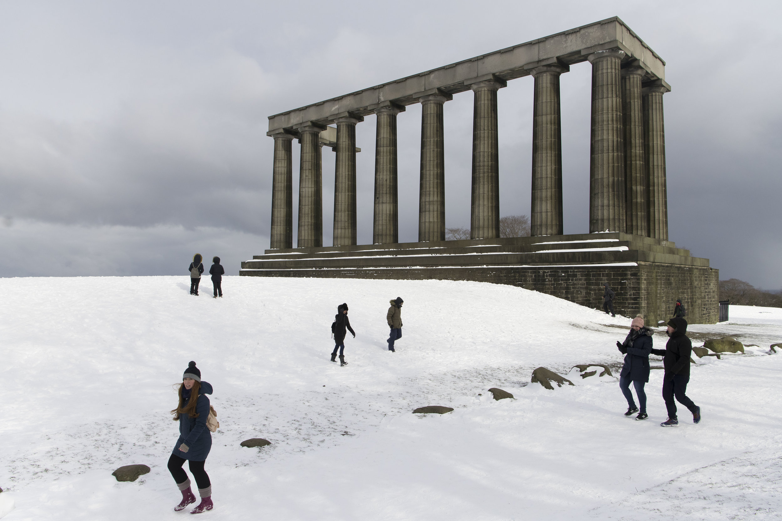 EDINBURGH, SCOTLAND - MARCH 1: A National Monument seen covered in snow at Calton Hill which overlooks the city centre following heavy snowfall on March 1, 2018 in Edinburgh, United Kingdom. People have been warned not to make unnecessary journeys as the Met office issues a red weather be aware warning for parts of Wales and South West England following the one currently in place in Scotland. (Photo by Matthew Horwood/Getty Images)