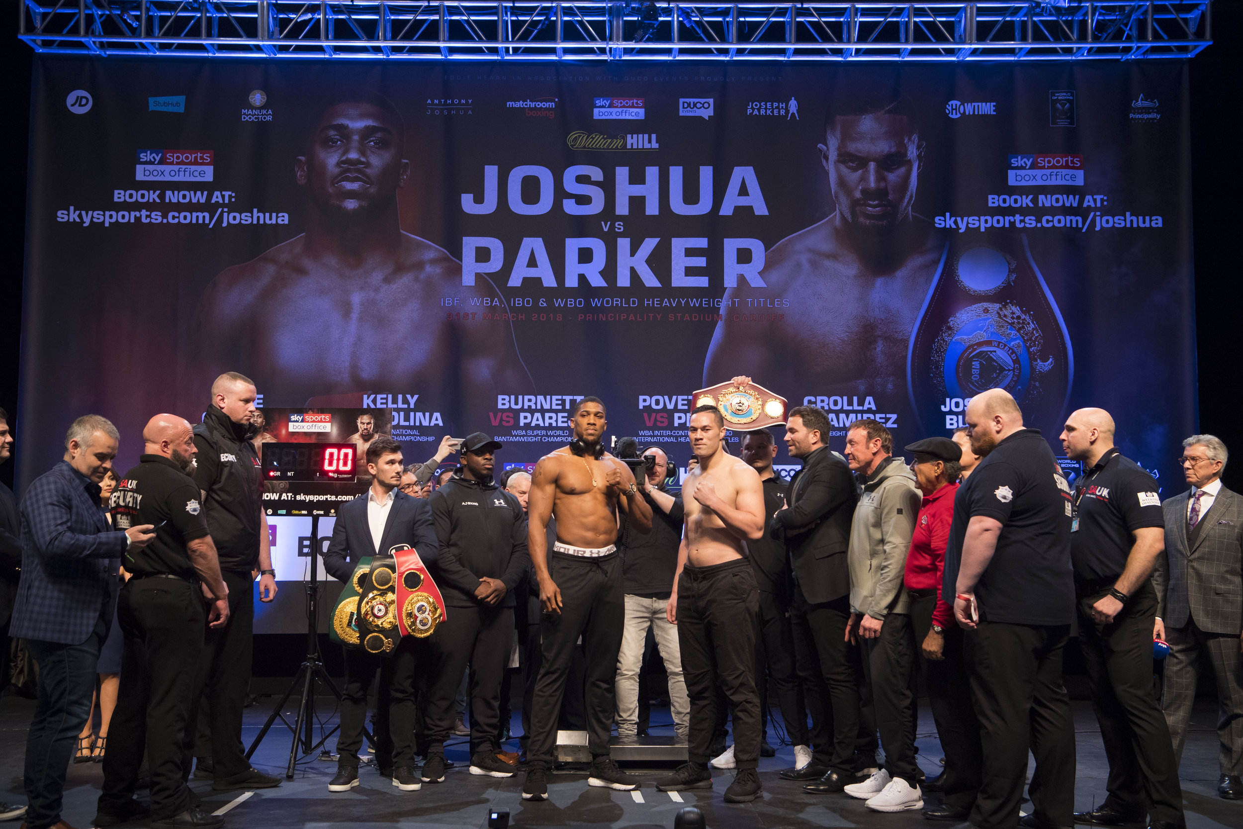CARDIFF, WALES - MARCH 30: Anthony Joshua (L) and Joseph Parker (R) weigh-in at the Motorpoint Arena on March 30, 2018 in Cardiff, Wales. Anthony Joshua will fight Joseph Parker in a heavyweight unification match at the Principality Stadium in Cardiff on March 31. (Photo by Matthew Horwood/Getty Images)