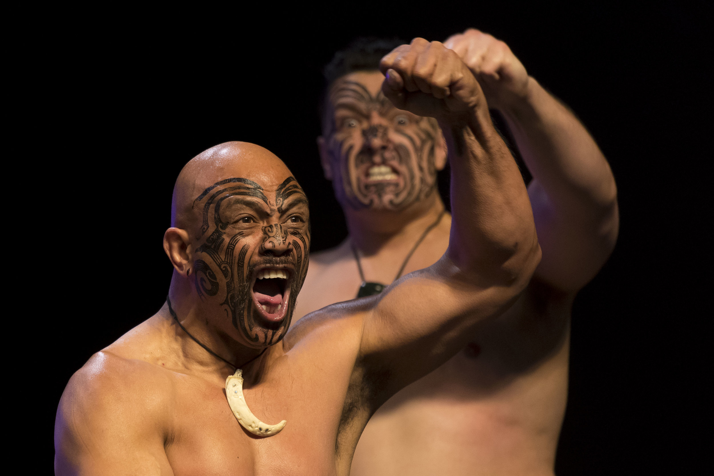 CARDIFF, WALES - MARCH 30: A traditional Haka dance is performed ahead of Joseph Parker's entrance during the weigh-in at the Motorpoint Arena on March 30, 2018 in Cardiff, Wales. Anthony Joshua will fight Joseph Parker in a heavyweight unification match at the Principality Stadium in Cardiff on March 31. (Photo by Matthew Horwood/Getty Images)