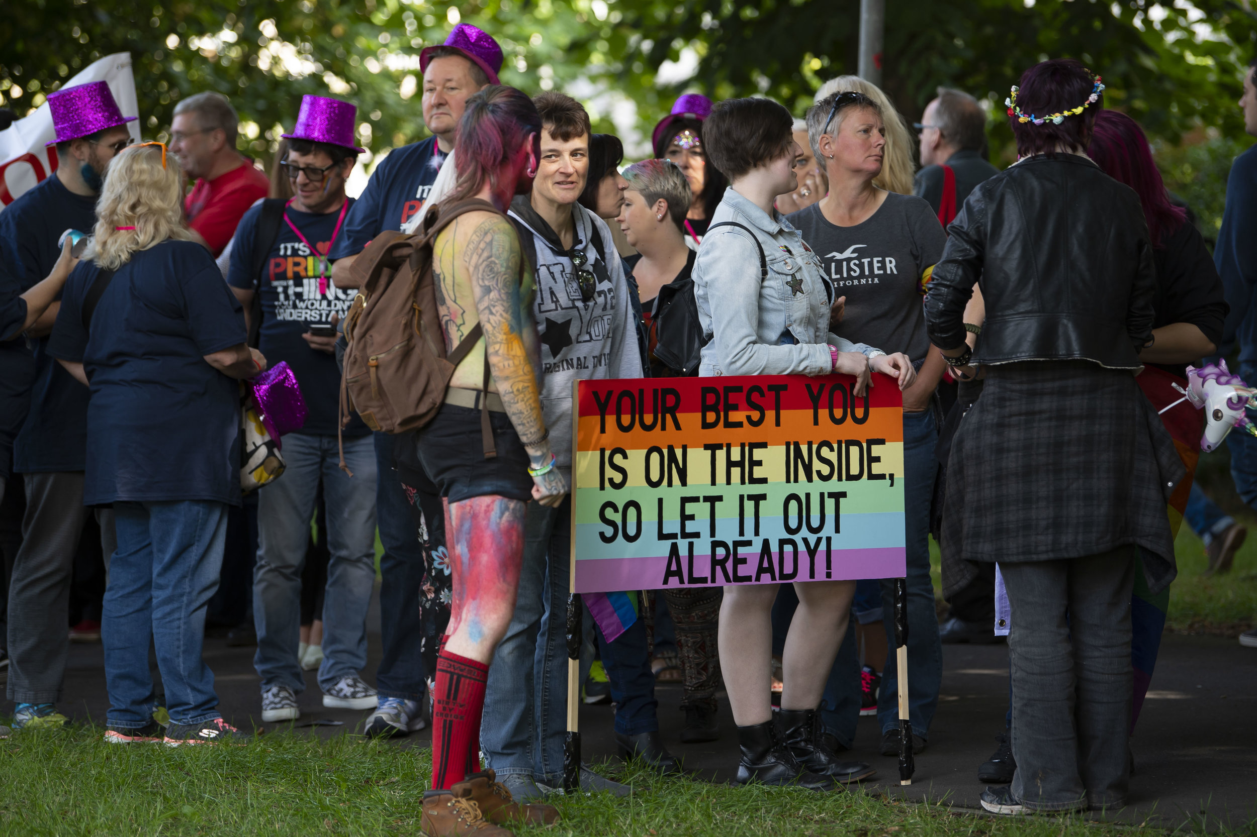 CARDIFF, WALES - AUGUST 25: Pride Cymru parade on August 25, 2018 in Cardiff, Wales. Pride Cymru aims to eliminate discrimination on the grounds of sexual orientation and gender within Wales. (Photo by Matthew Horwood/Getty Images)