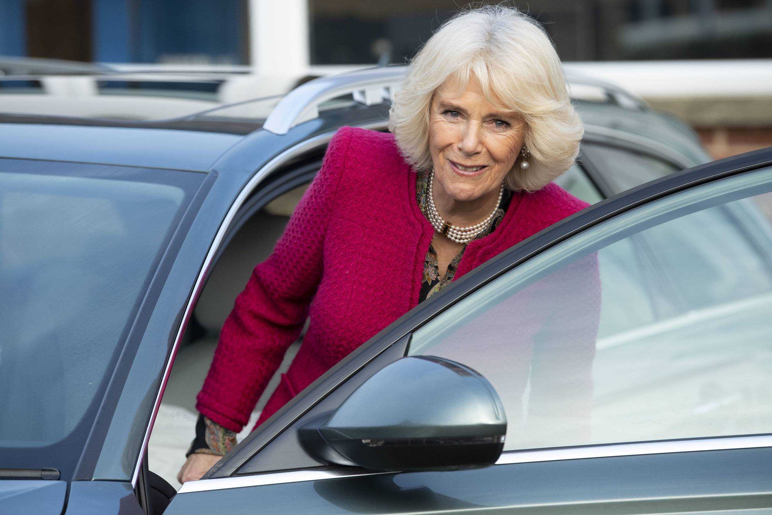 SWINDON, ENGLAND - JANUARY 24: The Duchess of Cornwall, Patron of the National Literacy Trust, gets into a car following a visit to the Lyndhurst Centre where she met foster carers and children on January 24, 2019 in Swindon, England. The Lyndhurst Centre is the Swindon office of the Regional Adoption Agency. (Photo by Matthew Horwood/Getty Images)