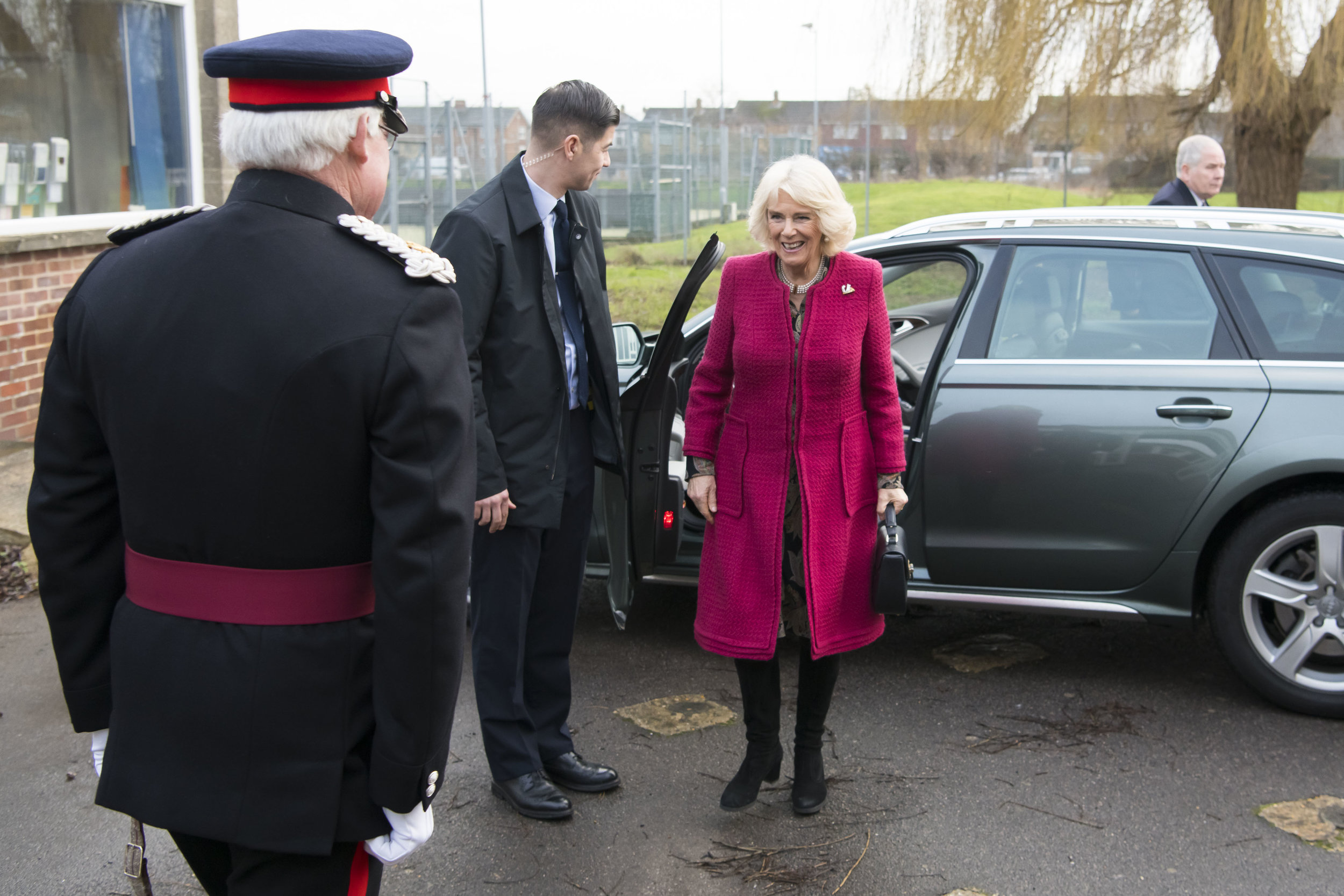SWINDON, ENGLAND - JANUARY 24: The Duchess of Cornwall, Patron of the National Literacy Trust, arrives at the Lyndhurst Centre where she met foster carers and children on January 24, 2019 in Swindon, England. The Lyndhurst Centre is the Swindon office of the Regional Adoption Agency. (Photo by Matthew Horwood/Getty Images)