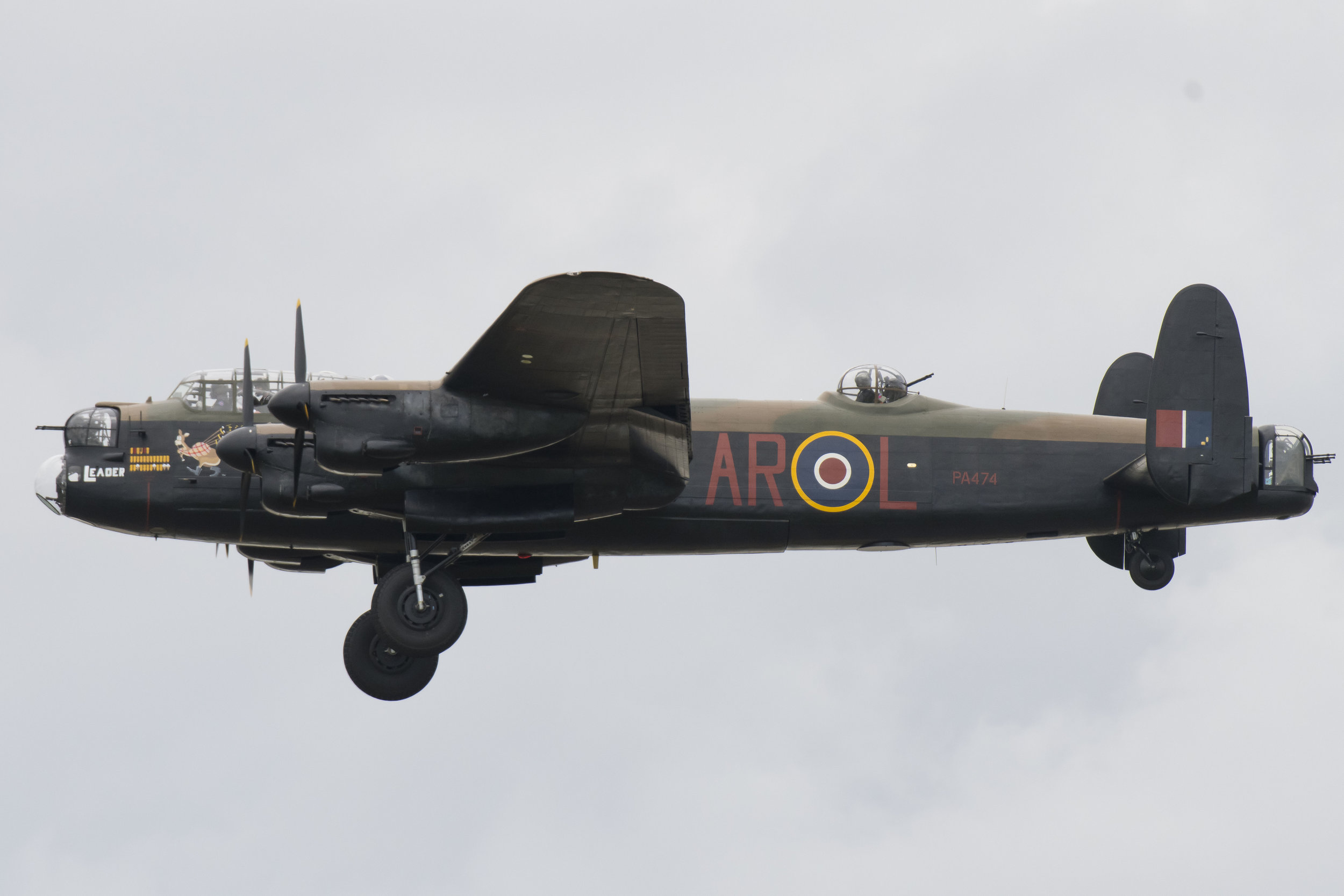 FAIRFORD, ENGLAND - JULY 21: A Lancaster bomber from the Battle of Britain Memorial Flight performs during the the International Air Tattoo at RAF Fairford on July 21, 2019 in Fairford, England. The Royal International Air Tattoo (RIAT) is the world's largest military air show, held in support of The Royal Air Force Charitable Trust. (Photo by Matthew Horwood/Getty Images)