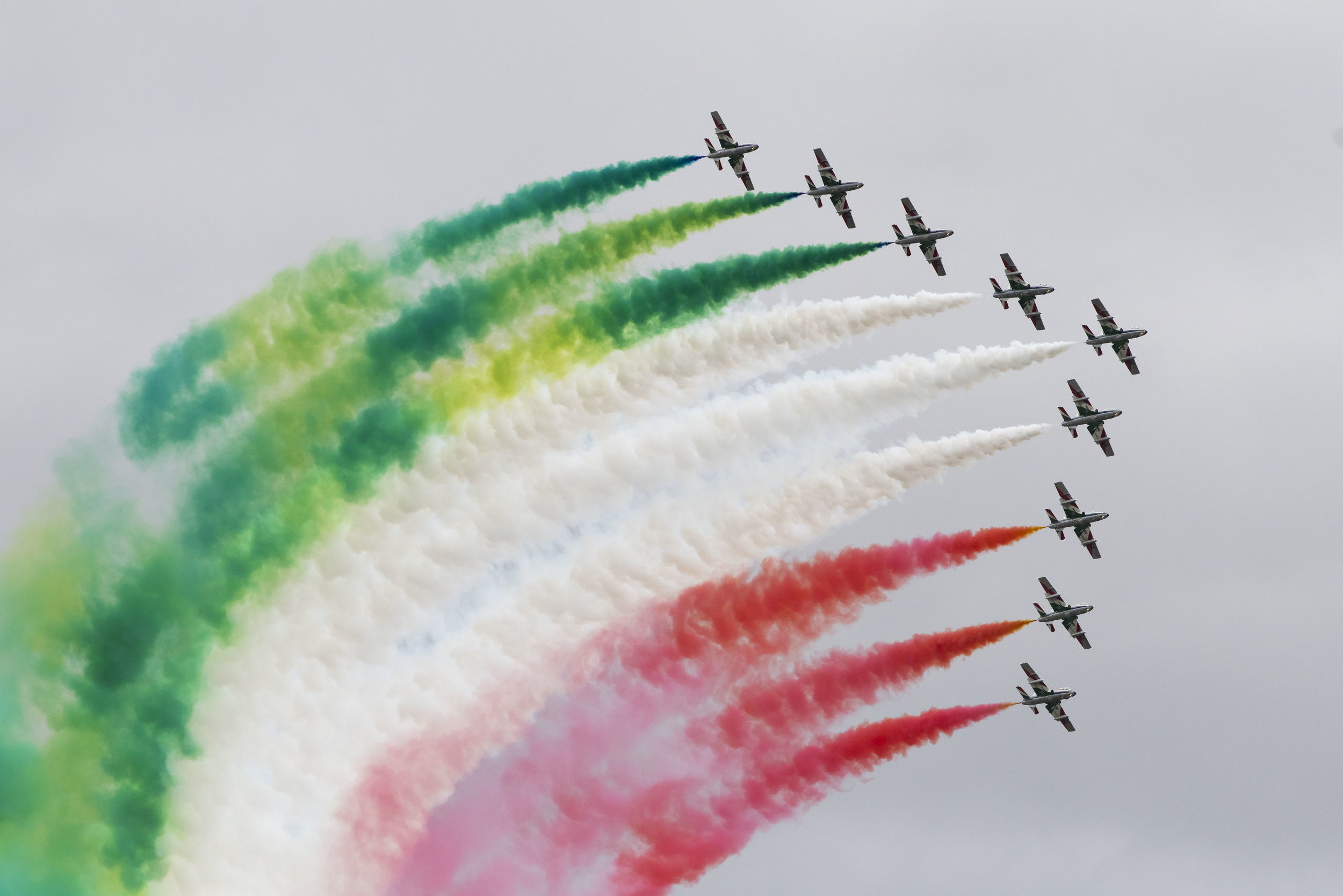 FAIRFORD, ENGLAND - JULY 21: The Frecce Tricolori of the Italian Air Force perform during the International Air Tattoo at RAF Fairford on July 21, 2019 in Fairford, England. The Royal International Air Tattoo (RIAT) is the world's largest military air show, held in support of The Royal Air Force Charitable Trust. (Photo by Matthew Horwood/Getty Images)
