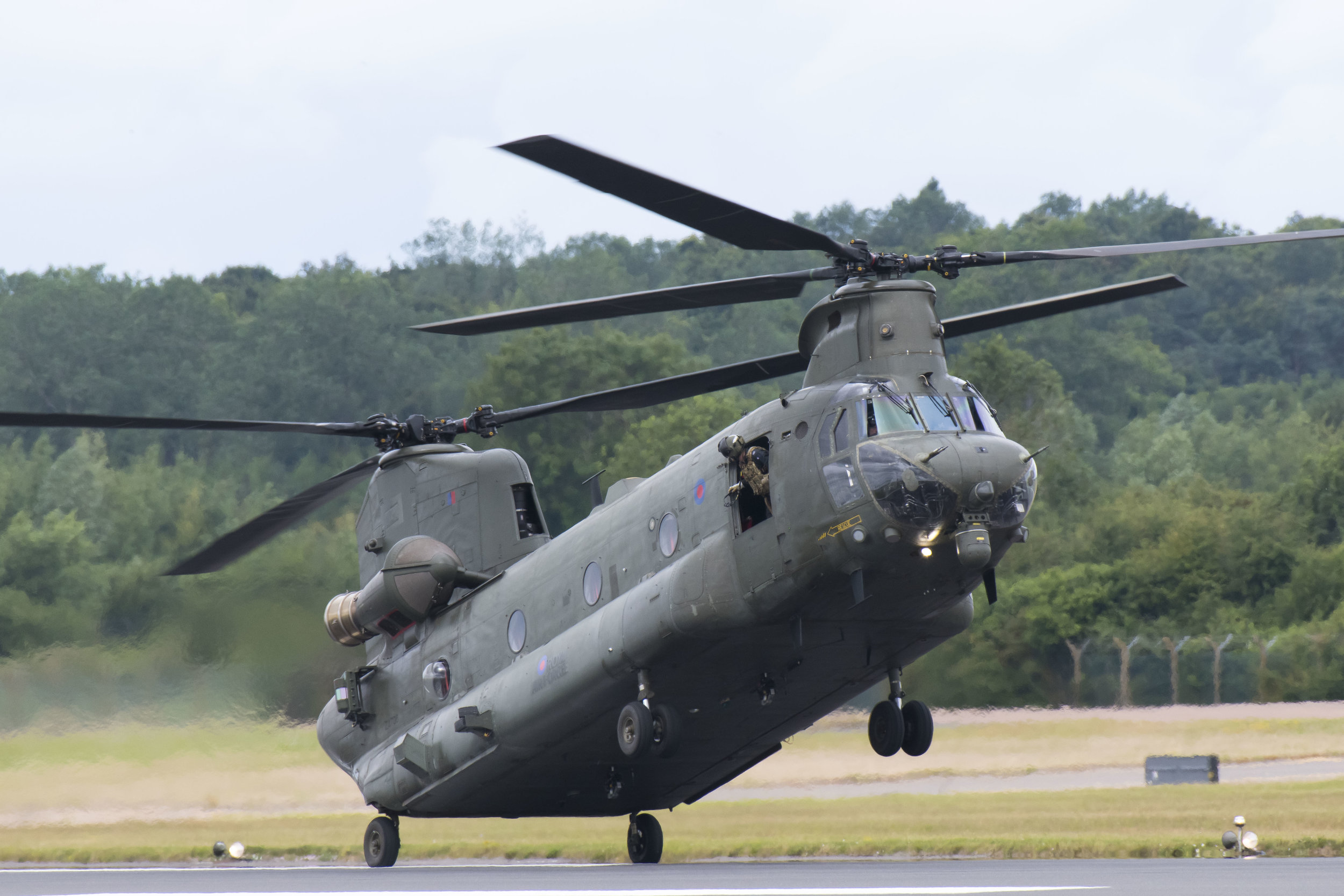 FAIRFORD, ENGLAND - JULY 21: A RAF Chinook performs during the the International Air Tattoo at RAF Fairford on July 21, 2019 in Fairford, England. The Royal International Air Tattoo (RIAT) is the world's largest military air show, held in support of The Royal Air Force Charitable Trust. (Photo by Matthew Horwood/Getty Images)