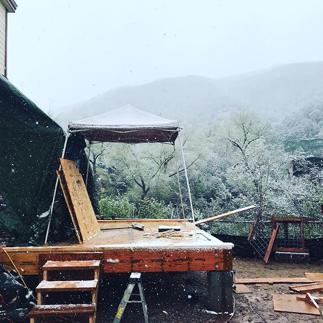There's no such thing as bad weather (only bad clothing). #houseaspen #designbuild #remodel #embracethegrind