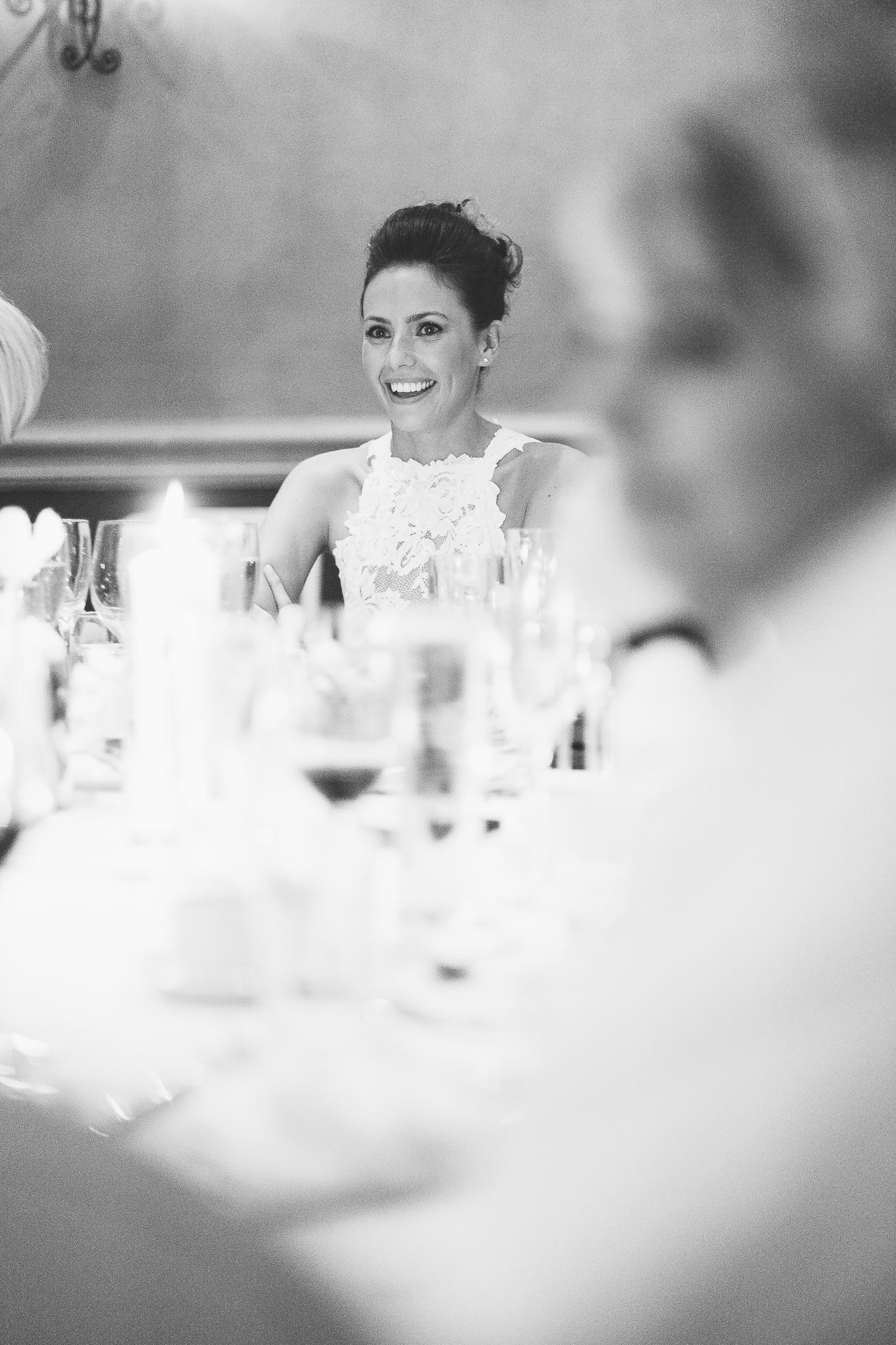 Bride at dinner reception