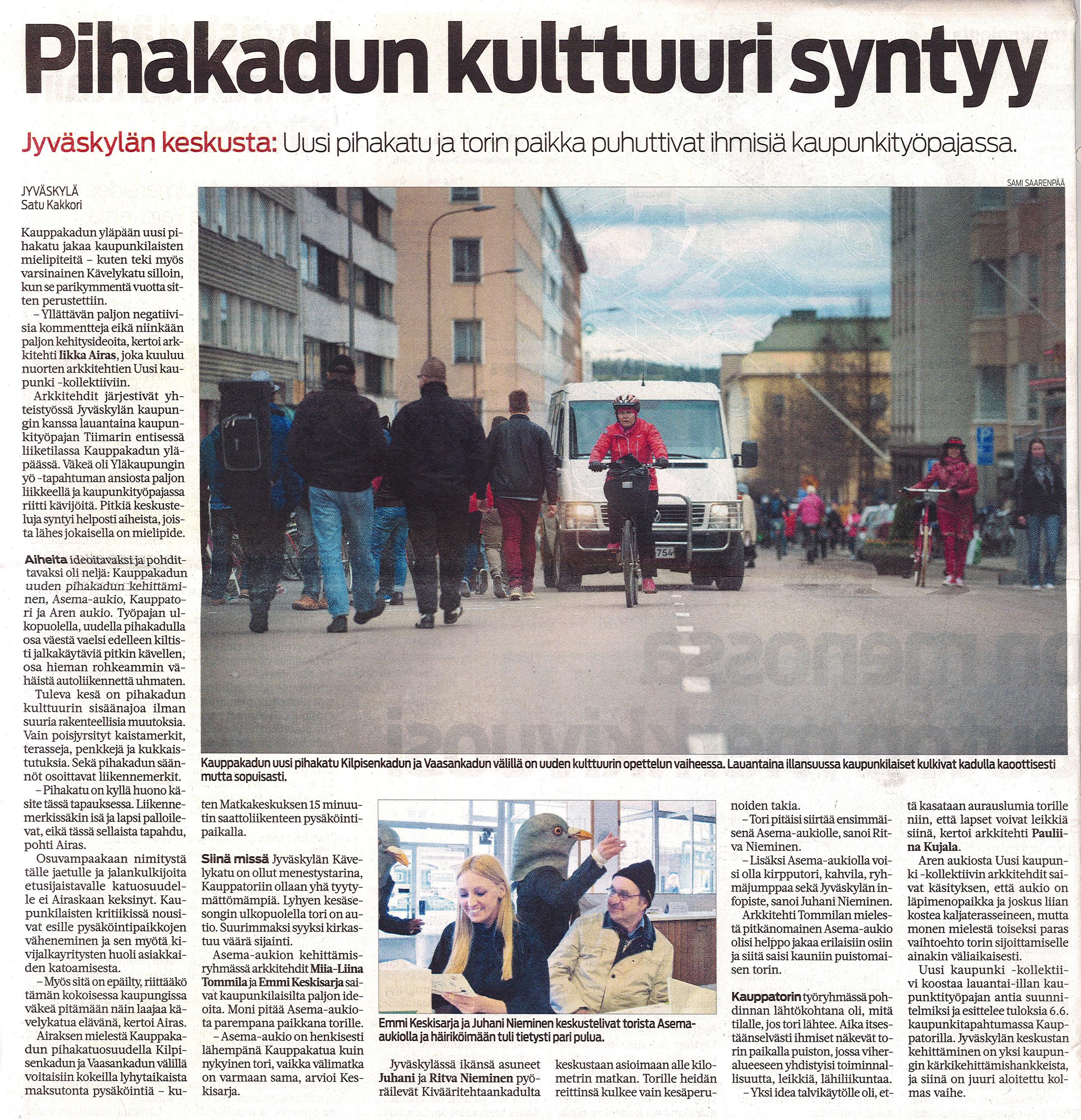 Jyväskylä region magazine Keskisuomalainen covers our workshop day.