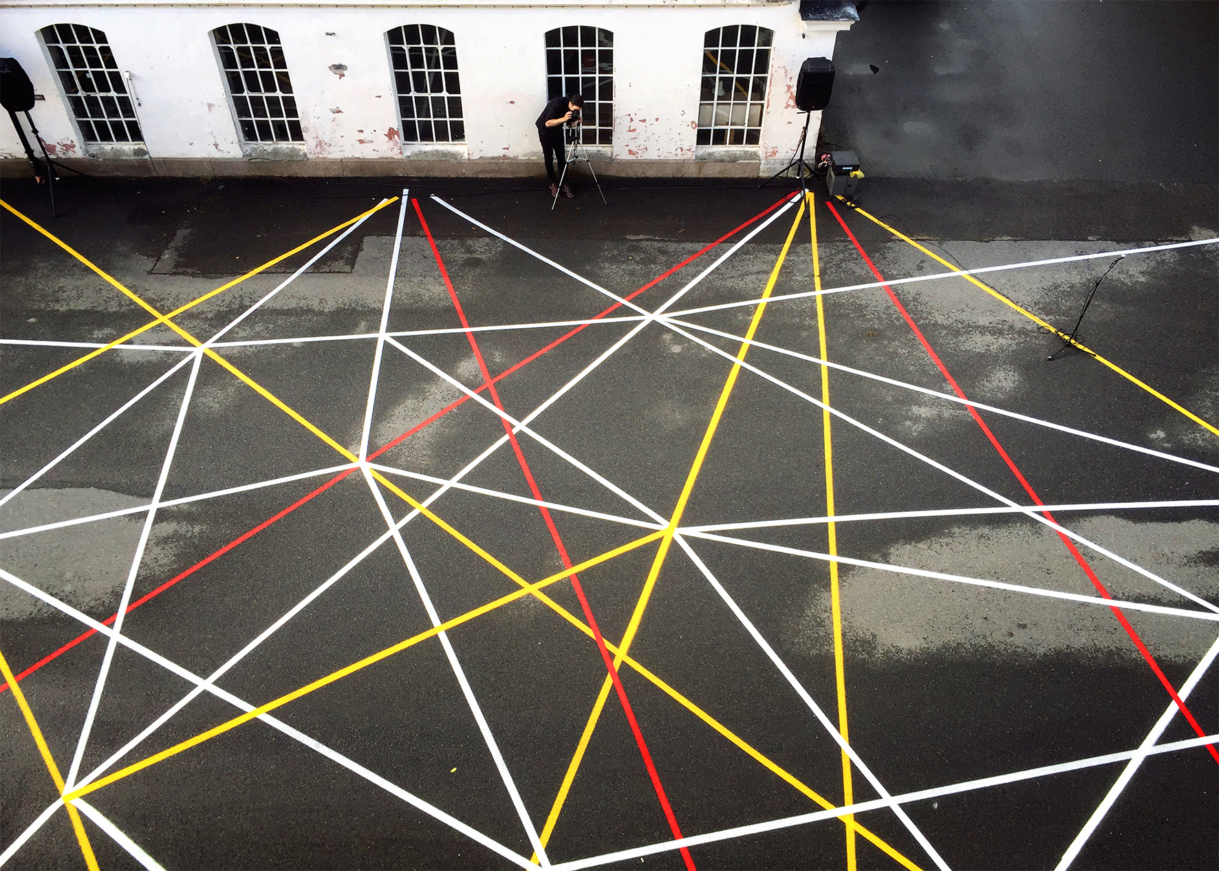 Placemaking as a strategy for activation: the centre of Dikemark, dominated by asphalt, got a new layer of colour which defines an area for collective activities. Photo: Tone Berge