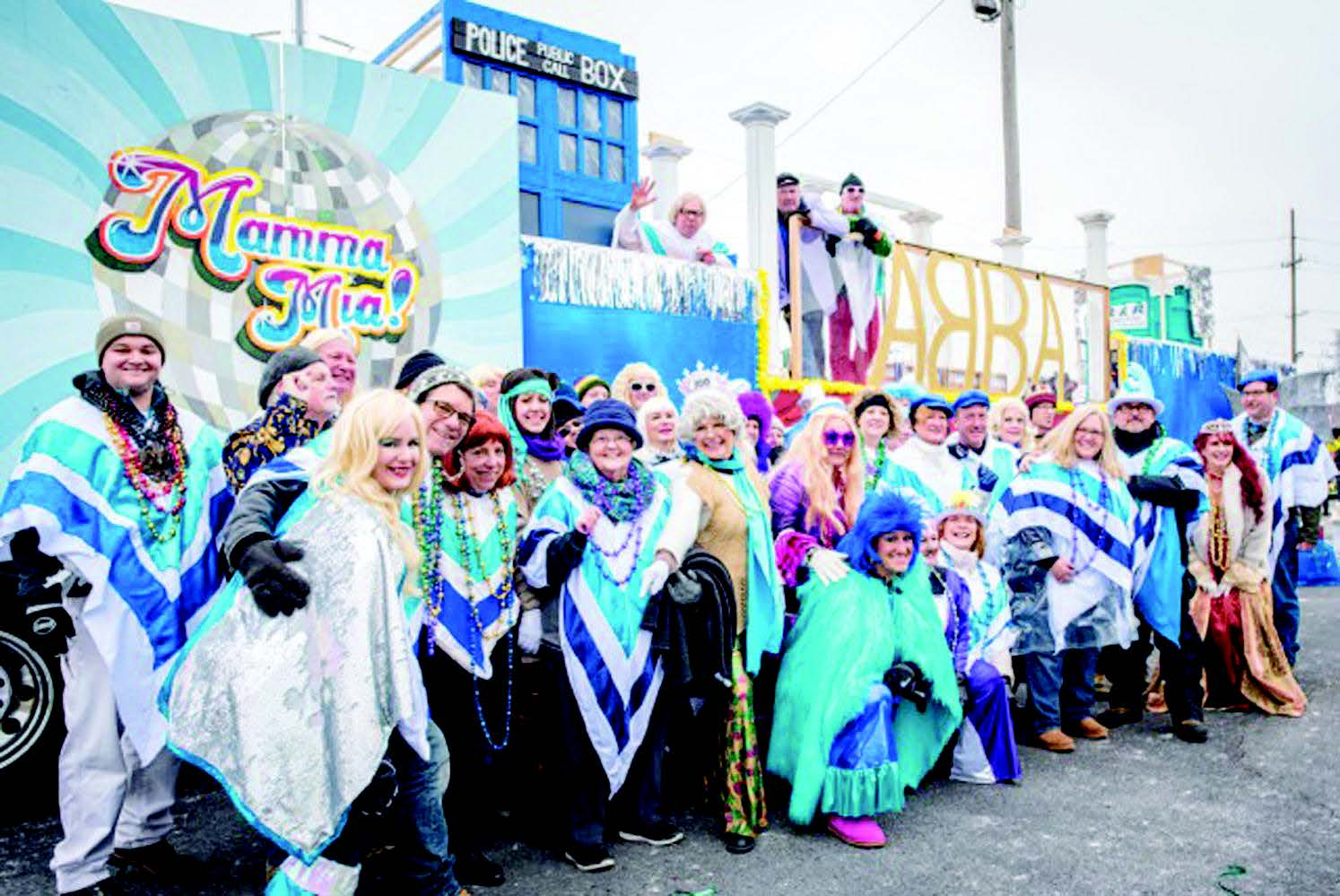 MAMA MIA: The Soulard Super Troupers krewe shows off its float.