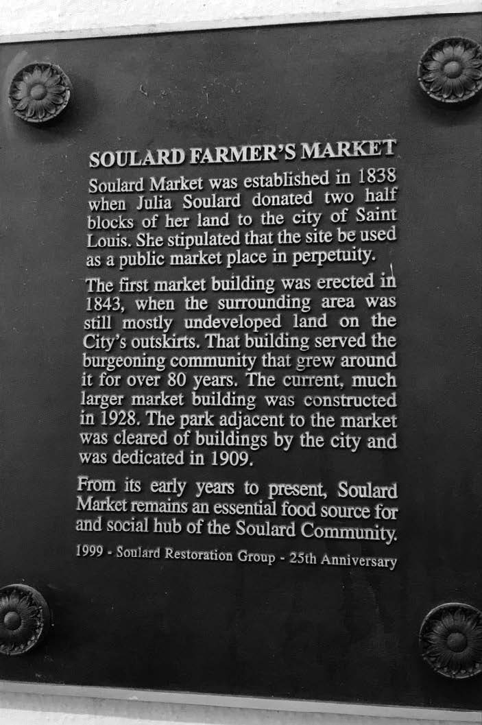 A plaque marks the historic Soulard Farmer's Market.