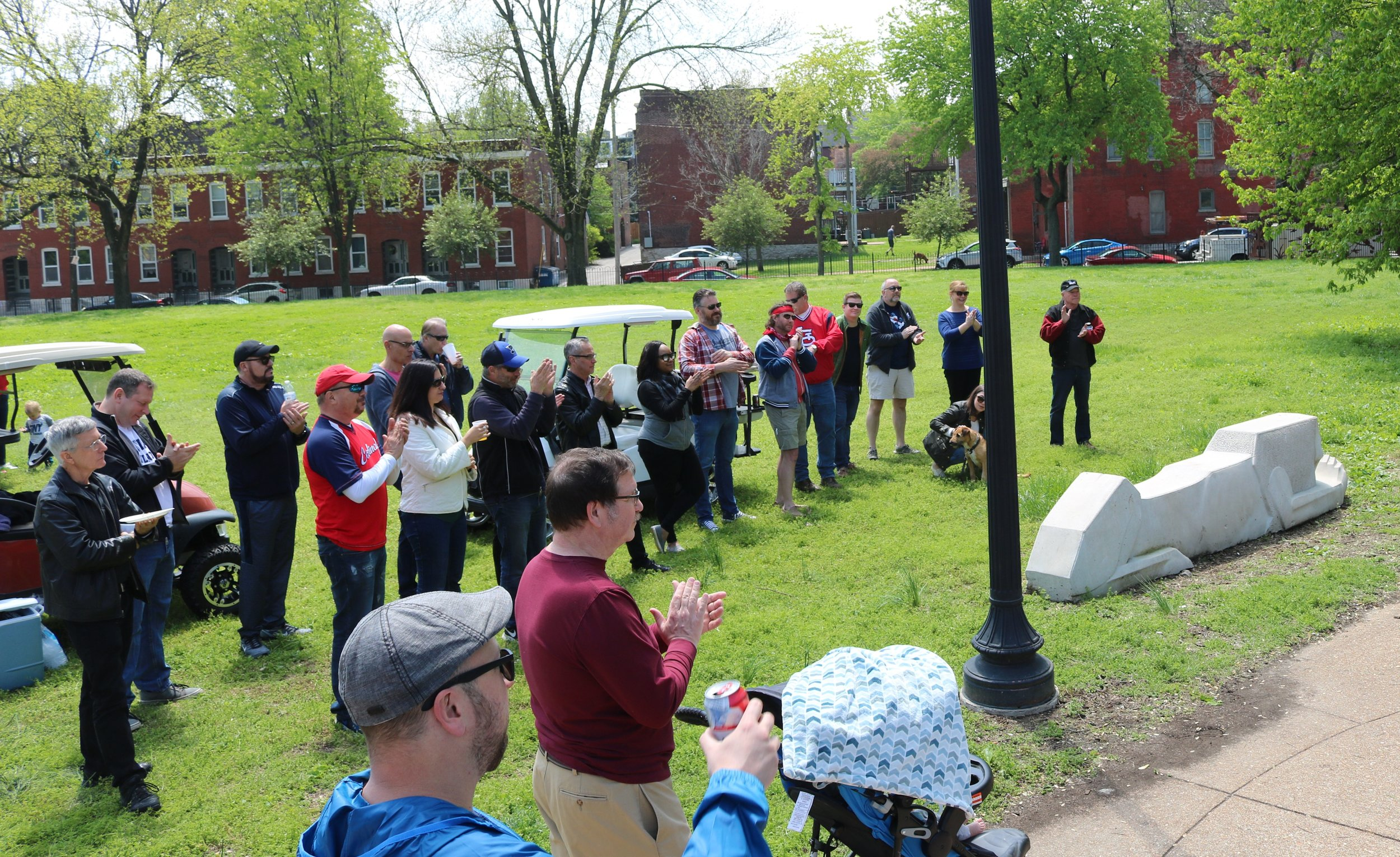 Soulard neighbors celebrate the dedication of Pontiac Park's new Cassilly benches