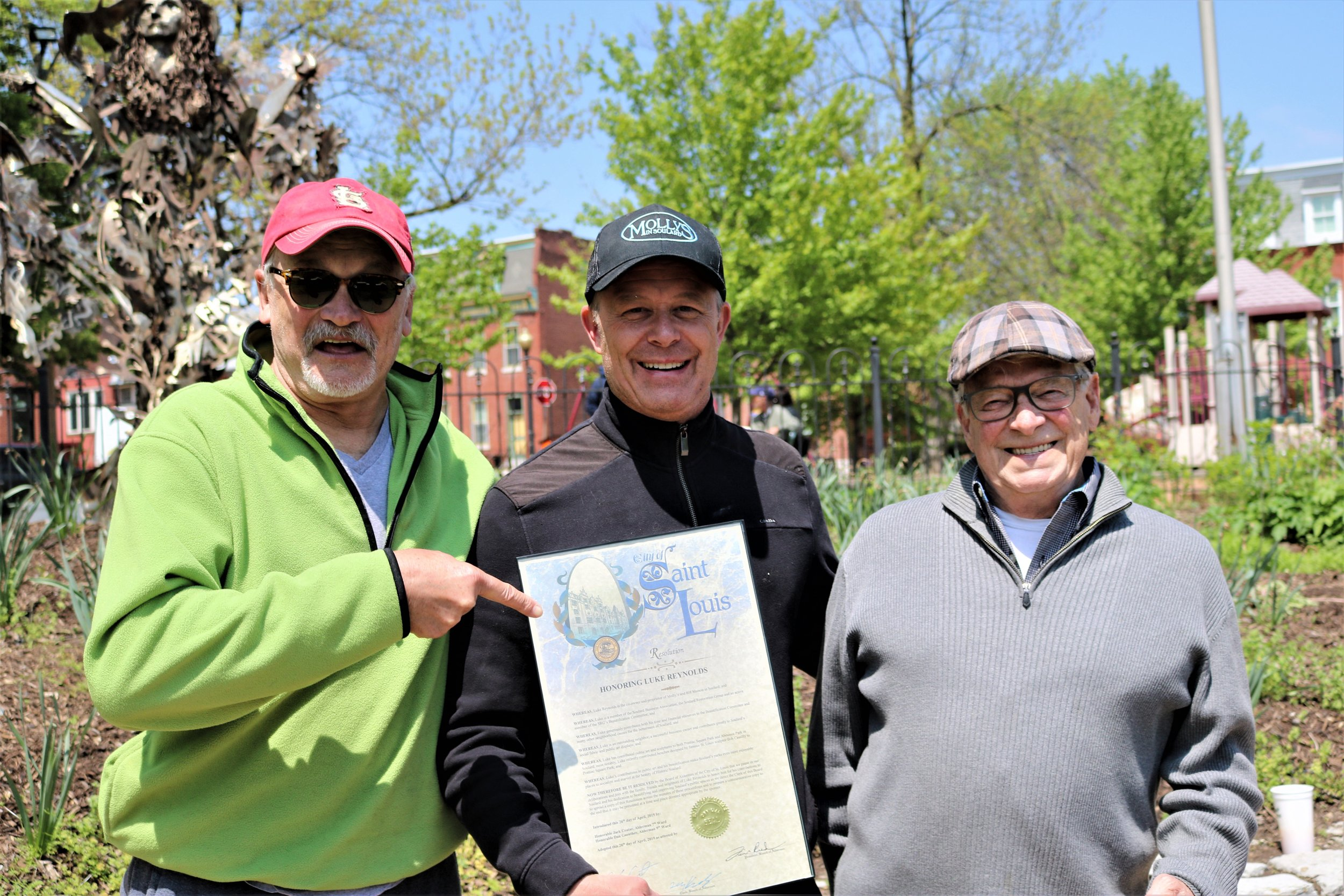 John Durnell, Luke Reynolds and Richard Eaton, chair of the SRG Beautification Committee