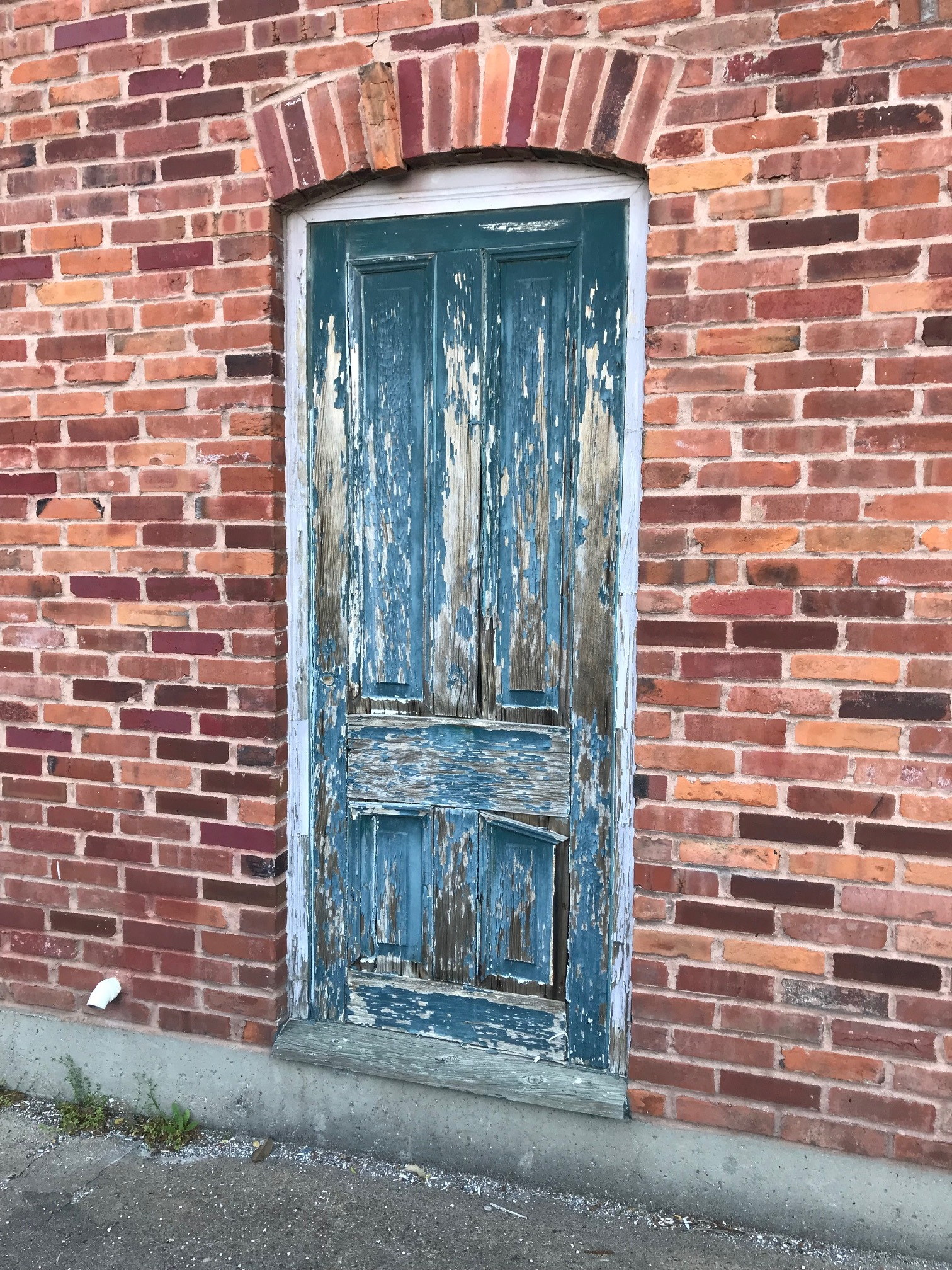D'oh, more entropy! Here is the deteriorating dummy door of our carriage house. Harsh environment, to be sure. Failed caulk and paint, cracked wood, and this was just painted (again!) like five years ago. So, do I repair—again---or replace? And what's with the loose brick?!