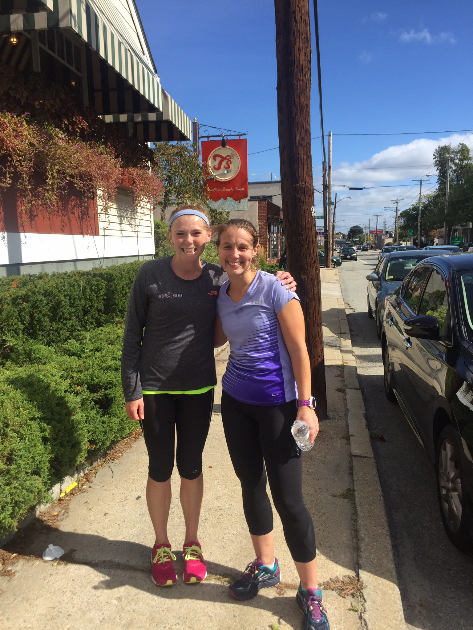 Me and Stacia after finally arriving in Cranston at T's restaurant with our 20 miler complete! Philly here we come!