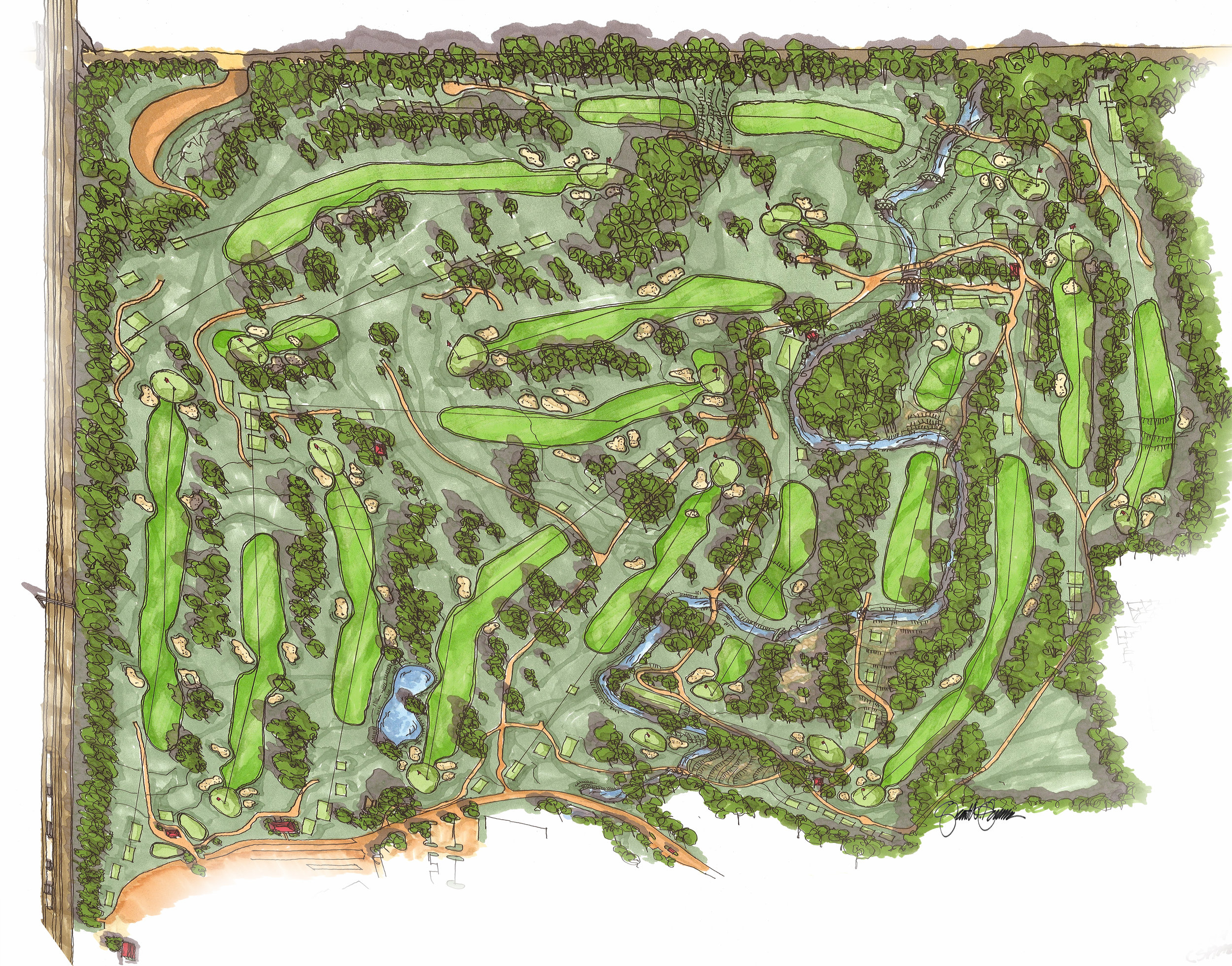 Hand Renderings / Golf Course Maps