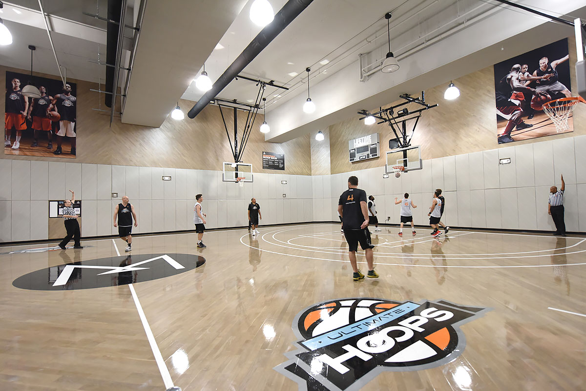 Ultimate Hoops league players play the first game on the new Sky court in NYC