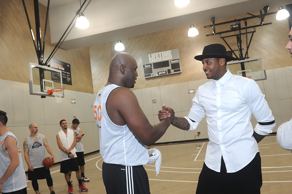 Kirkaldy and the Knicks' Carmelo Anthony at Life Time SKY Grand Opening