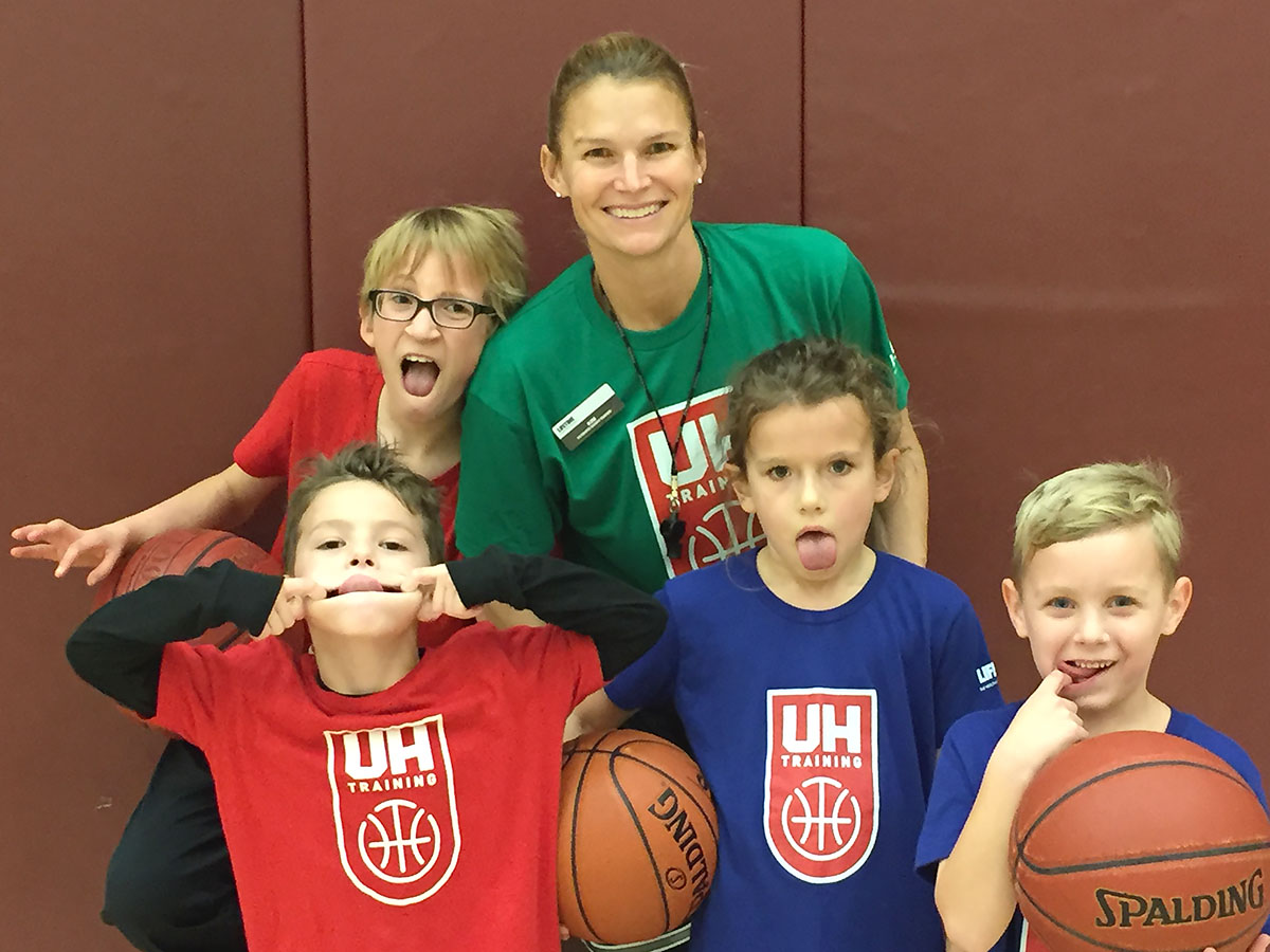 Crabtree and her players having fun at a recent training session