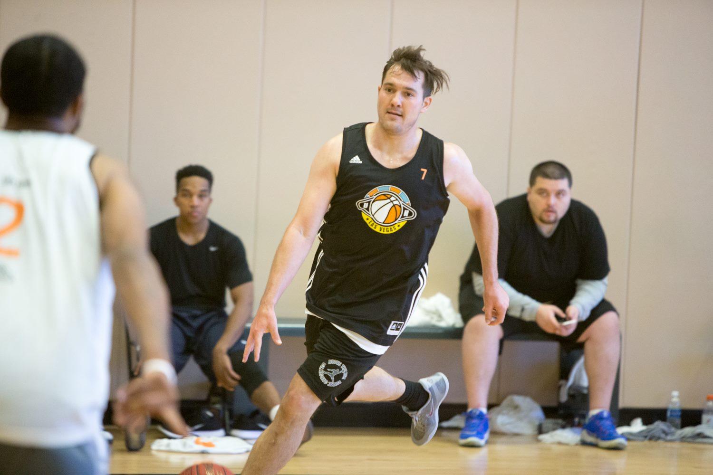 Jansen dribbling up the court.
