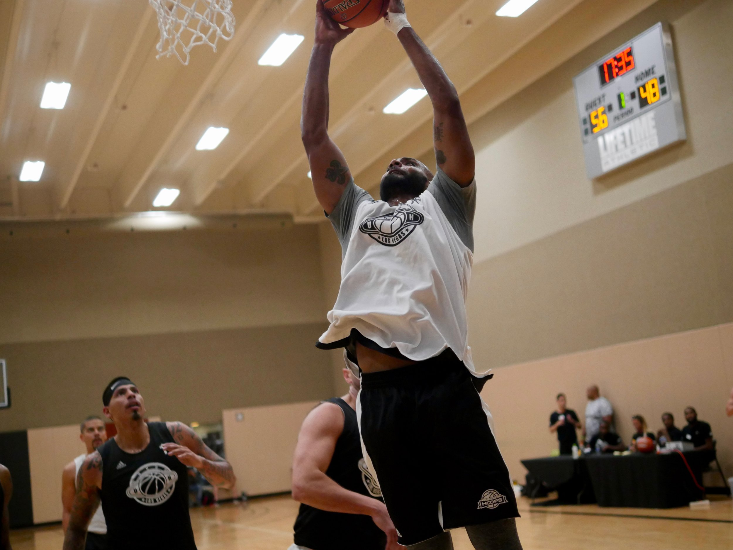 Pichon skying for a rebound in last year's tournament.