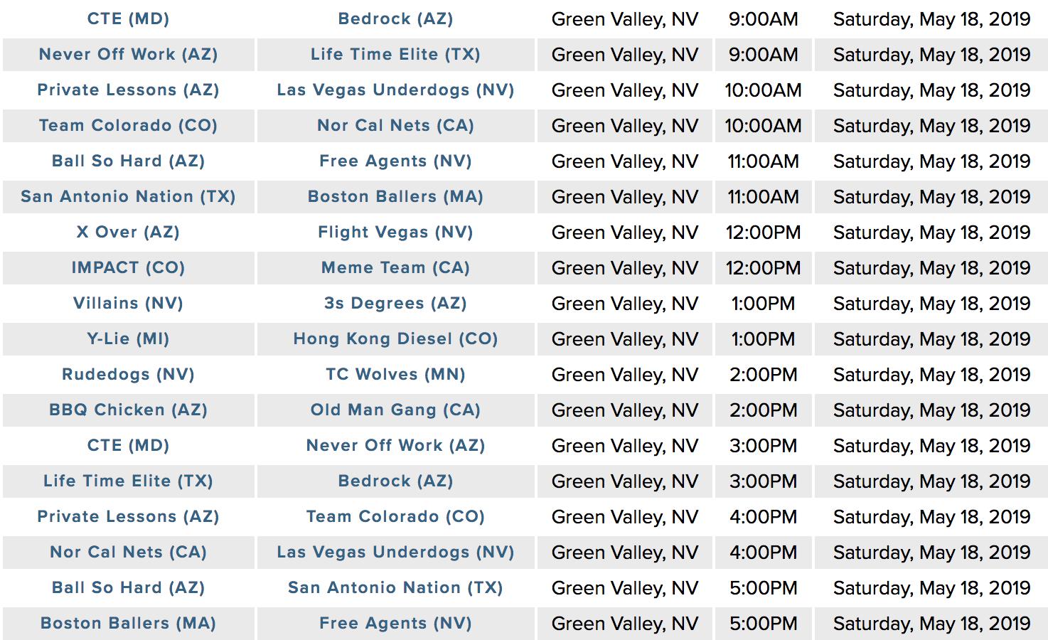 Saturday's schedule