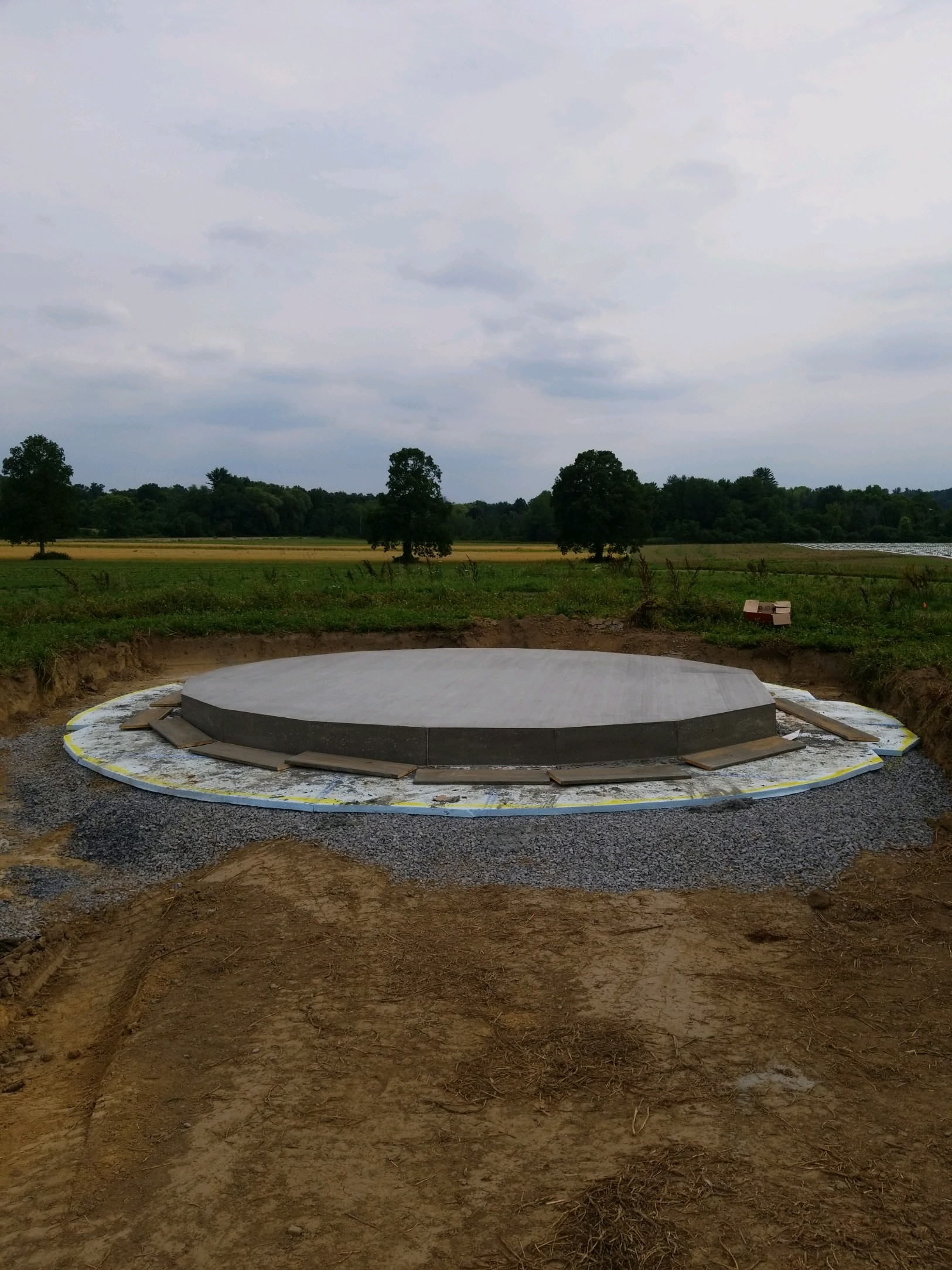 Completed foundations at Old Mud Creek, Stone House Farm