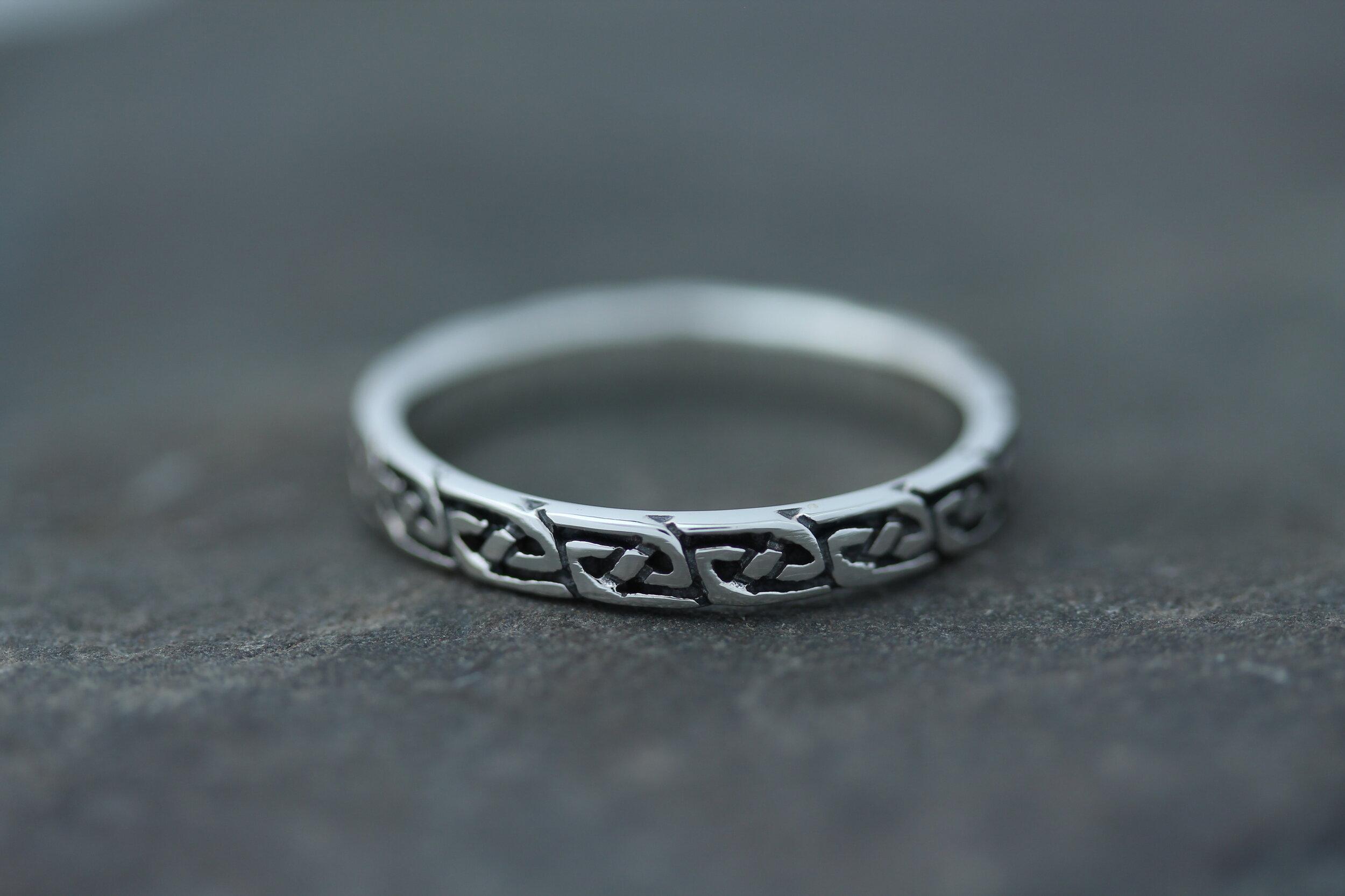 Celtic Knot Ring Thin Infinite Pictish Knot Celtic Design Scotland