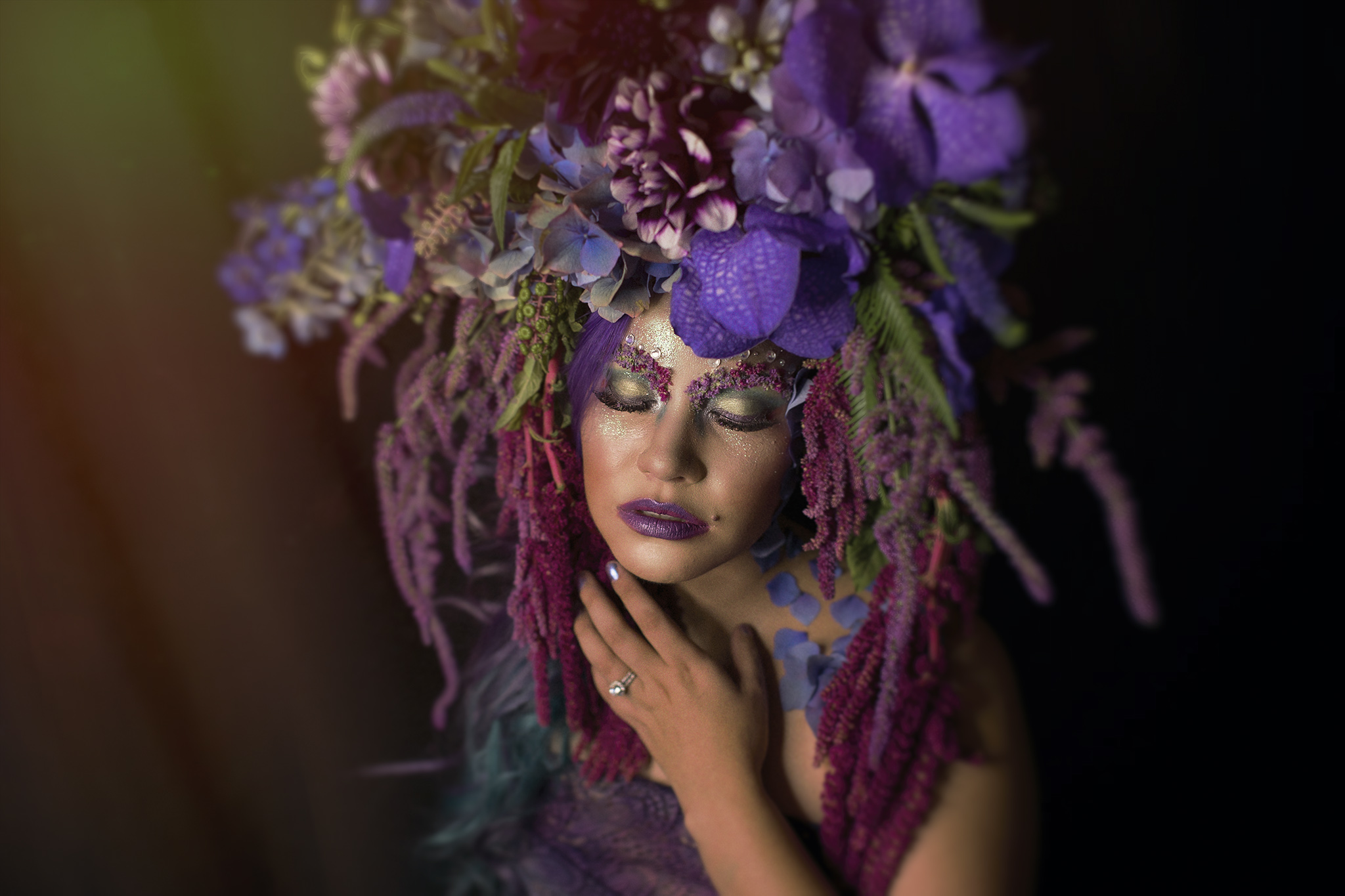 Floral headdress by Delightful by Rochelle. MUA and Model: Alex Flores of Elegance by Alex.