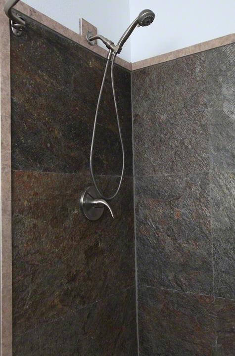 D. Green Shower Wall