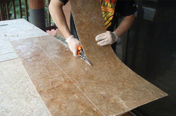 Sheets are easily cut to size by hand.