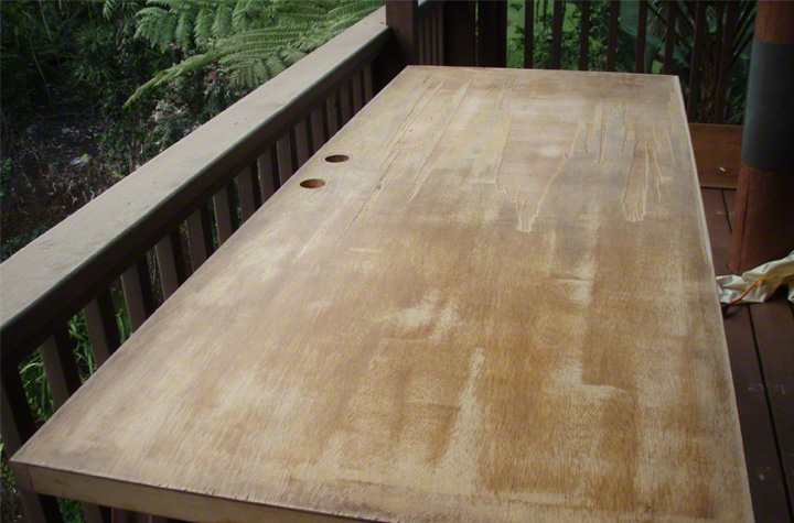 Proper surface prep is important. The surface was sanded and brushed clean before the TXTR-LITE was installed