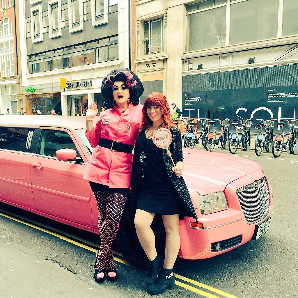 Hollie B from Playstation and my Pink Kitty Wagon!