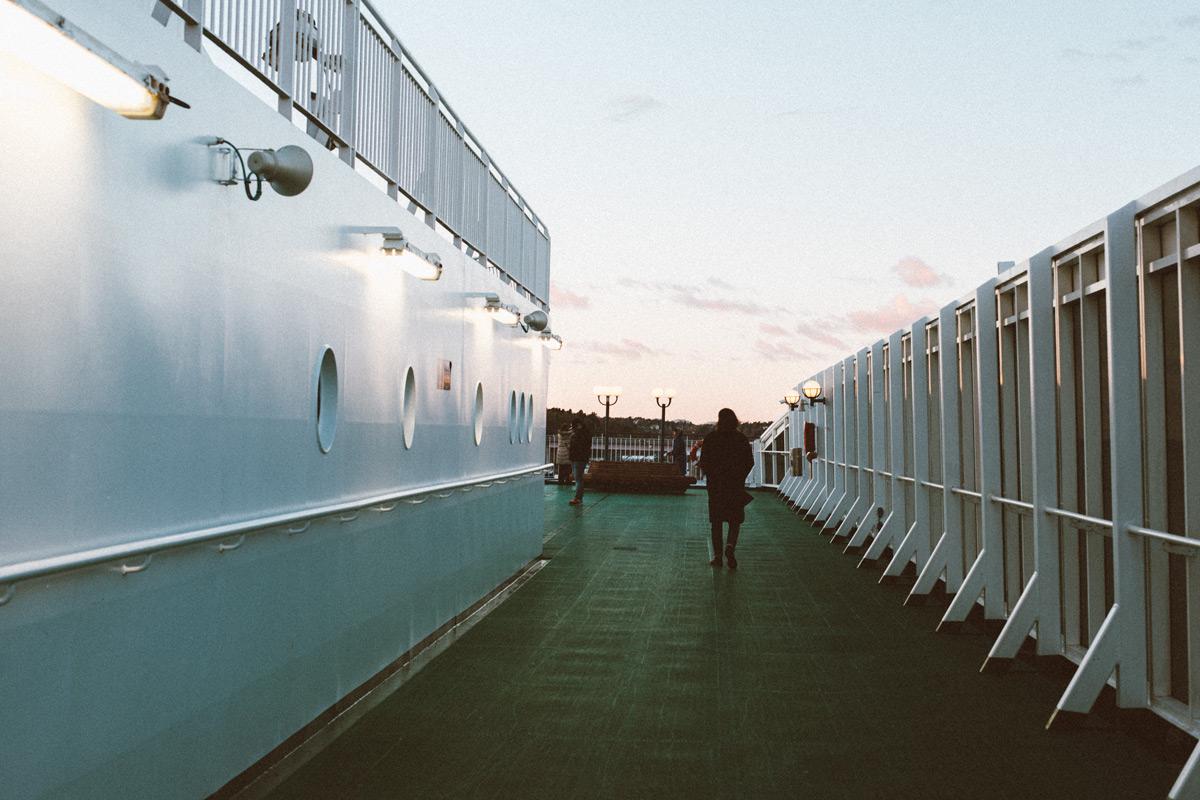 Uppe på däck på M/S Victoria på väg till Tallinn med Tallink Silja