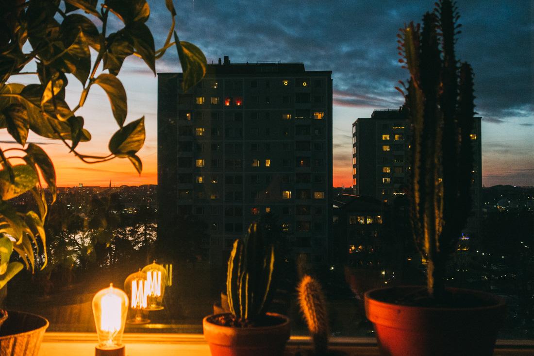 utsikt över stockholm lidingö solnedgång