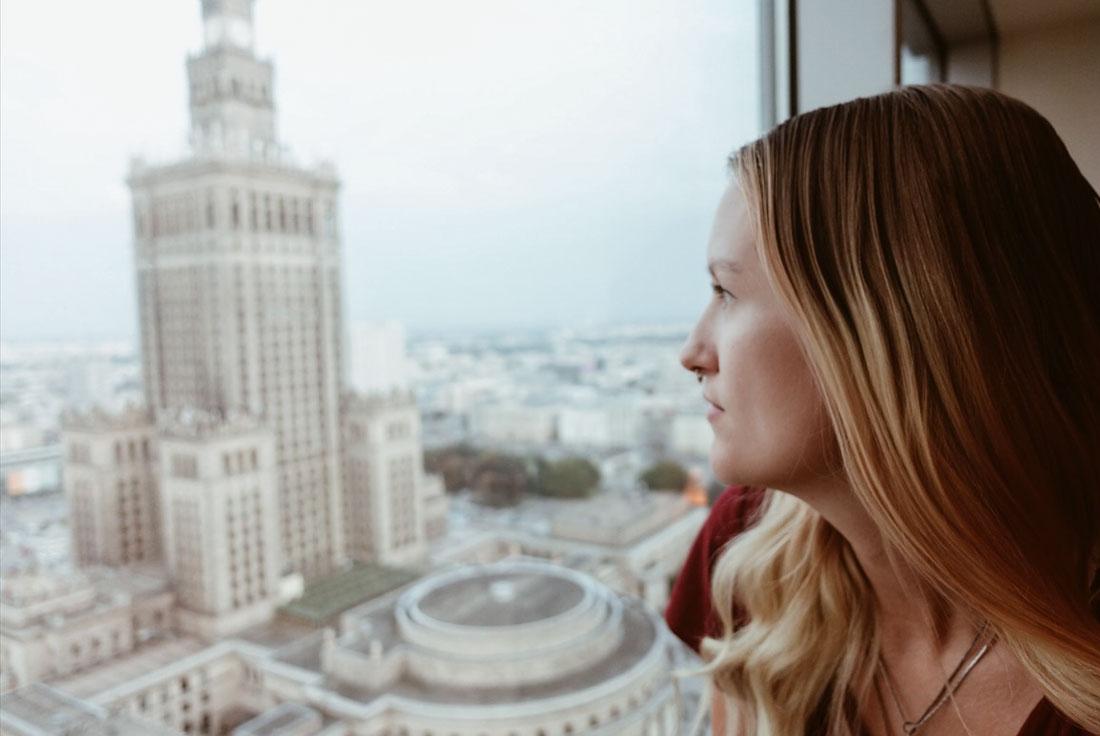 hotellrum på 26 våningen på Novotel centrum hotel i Warszawa